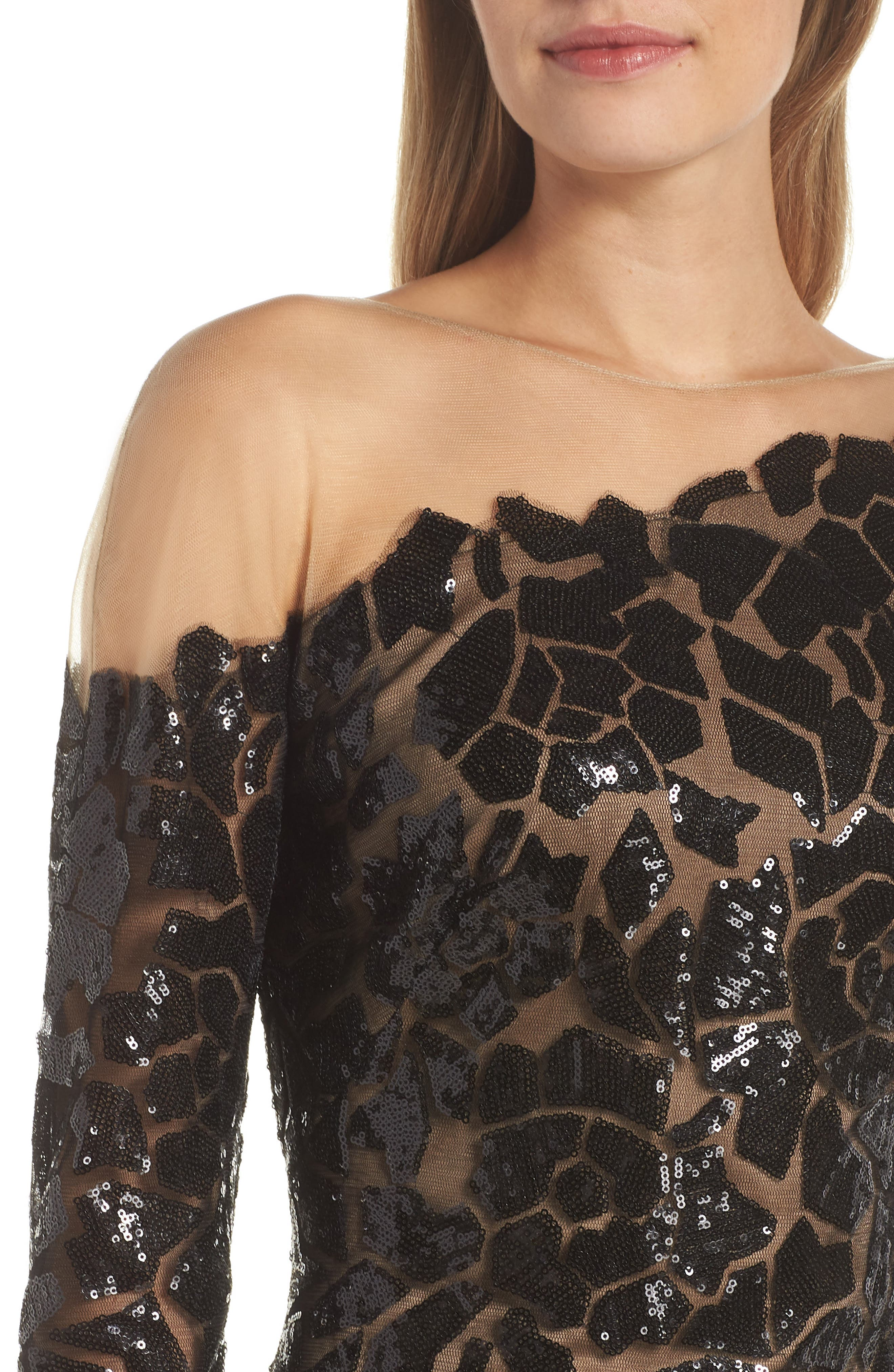 Sequin Illusion Body-Con Dress,                             Alternate thumbnail 4, color,                             BLACK/ NUDE