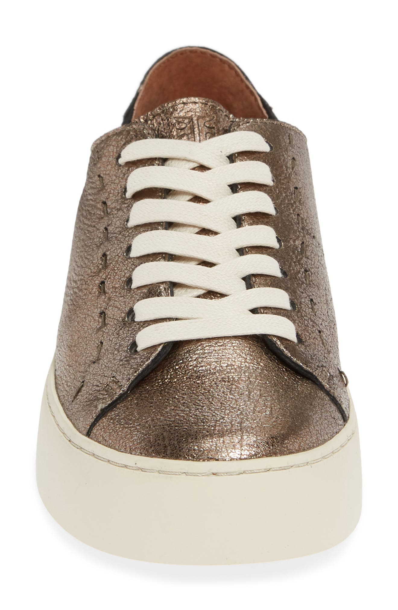 Lena Low Top Sneaker,                             Alternate thumbnail 4, color,                             GOLDEN SILVER