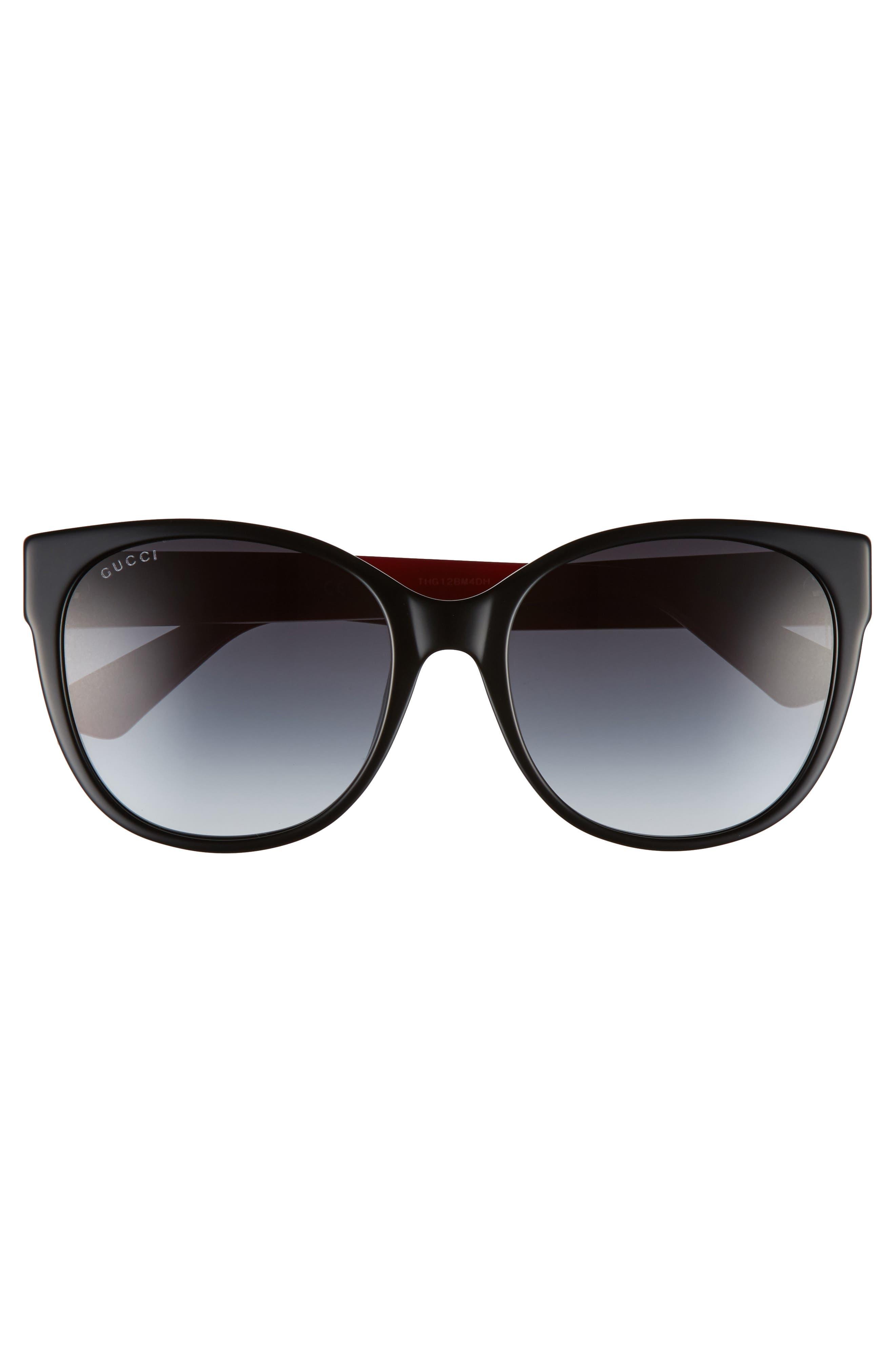 GUCCI,                             56mm Cat Eye Sunglasses,                             Alternate thumbnail 3, color,                             001