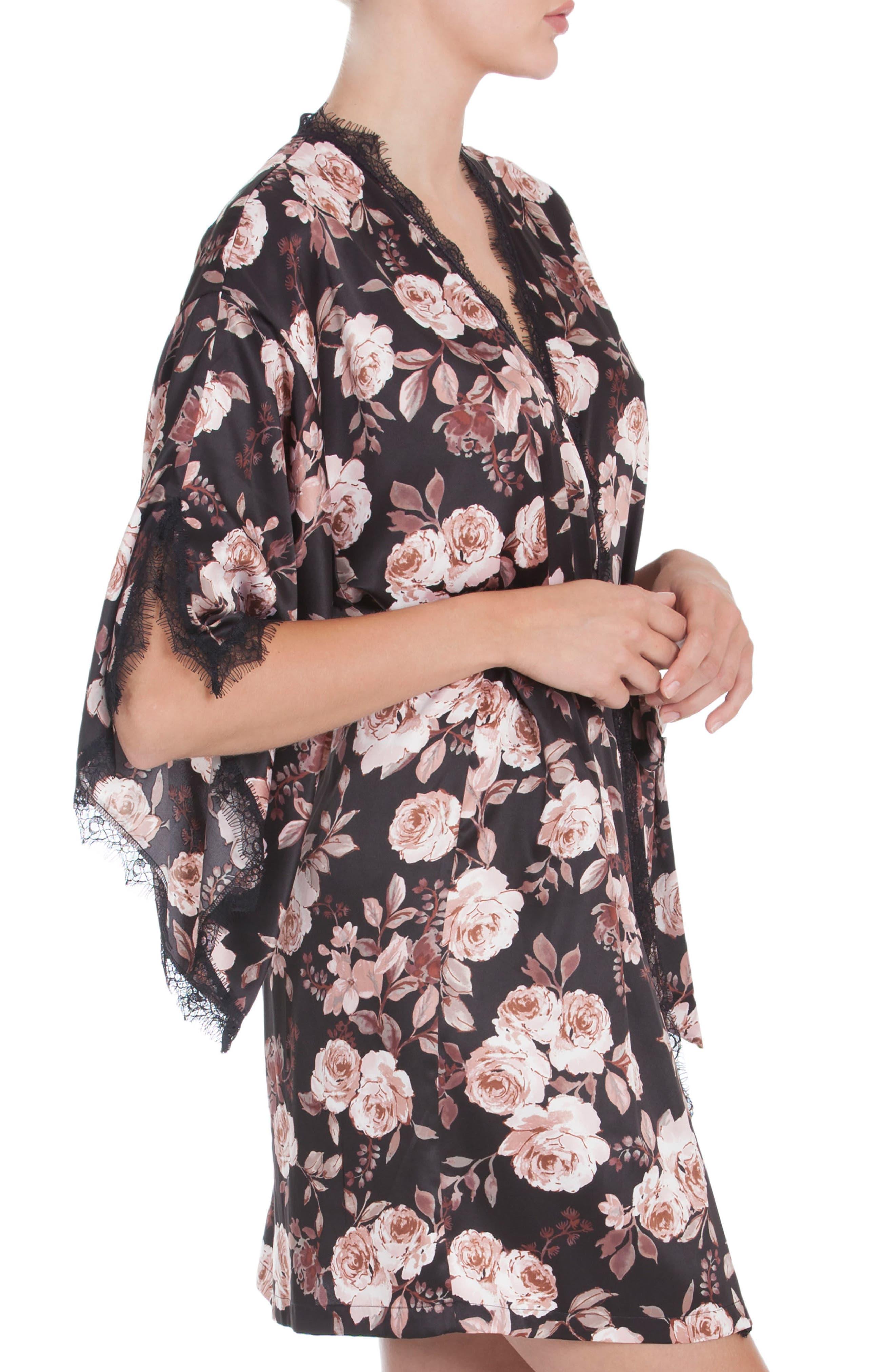 Floral Print Kimono Robe,                             Alternate thumbnail 3, color,                             001