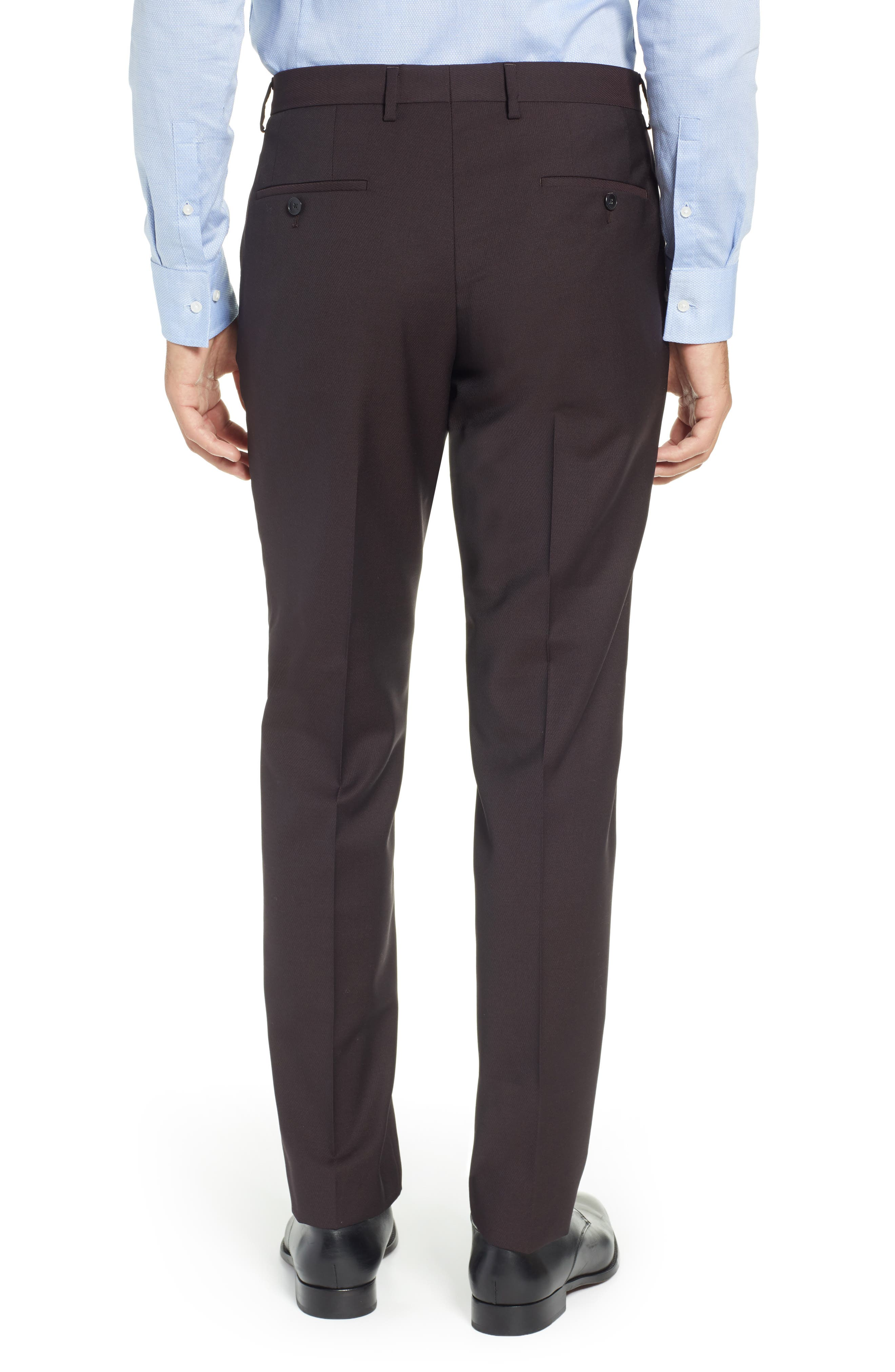 TED BAKER LONDON,                             Buftro Flat Front Slim Twill Trousers,                             Alternate thumbnail 2, color,                             BLUE