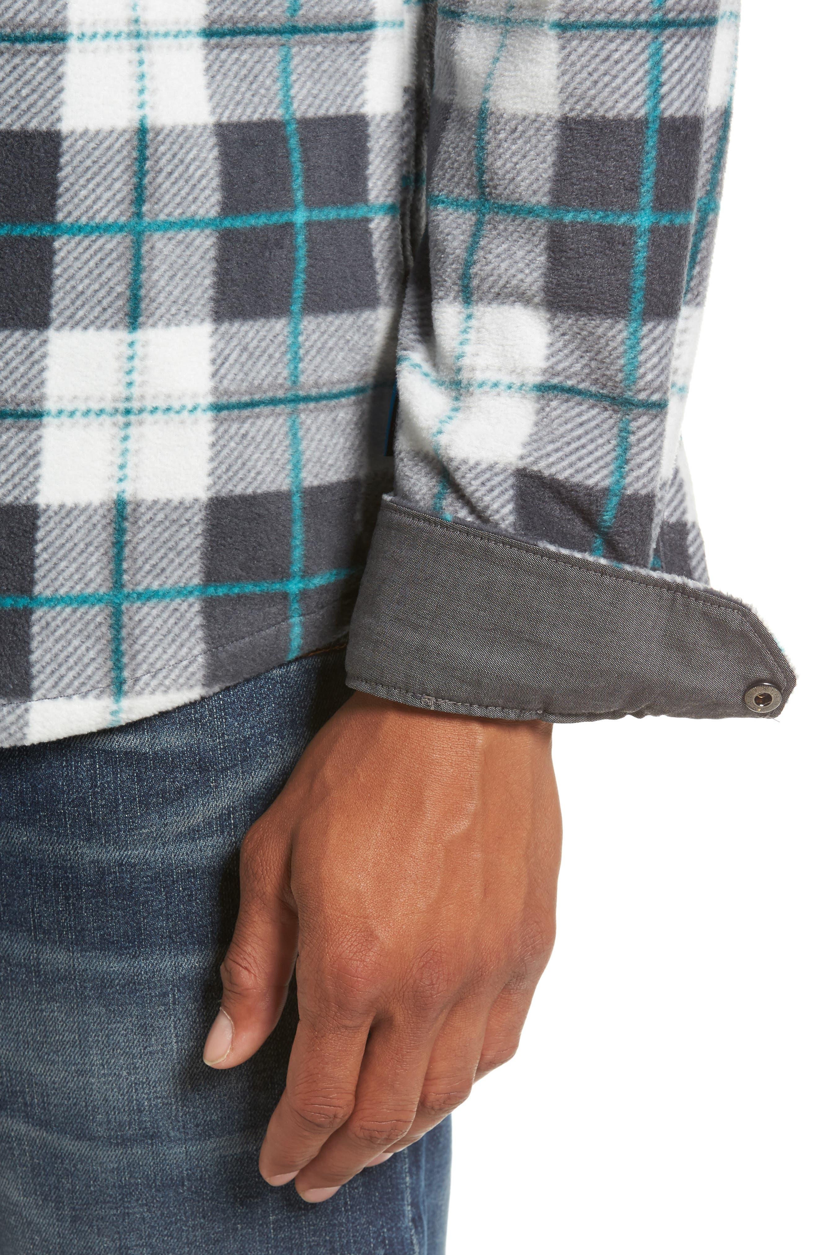 Glacier Plaid Fleece Flannel Shirt,                             Alternate thumbnail 19, color,