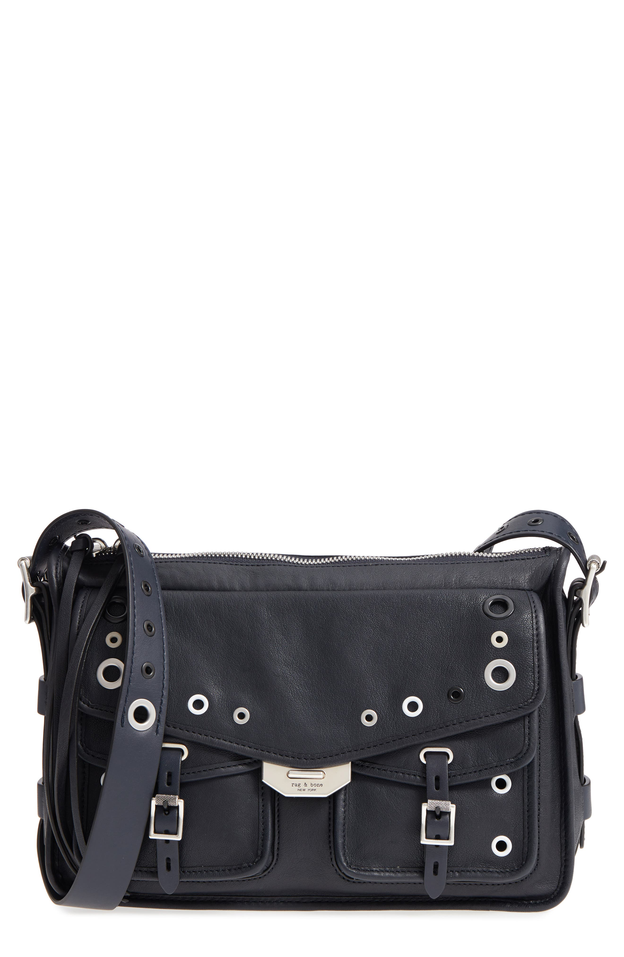 Leather Field Messenger,                             Main thumbnail 1, color,