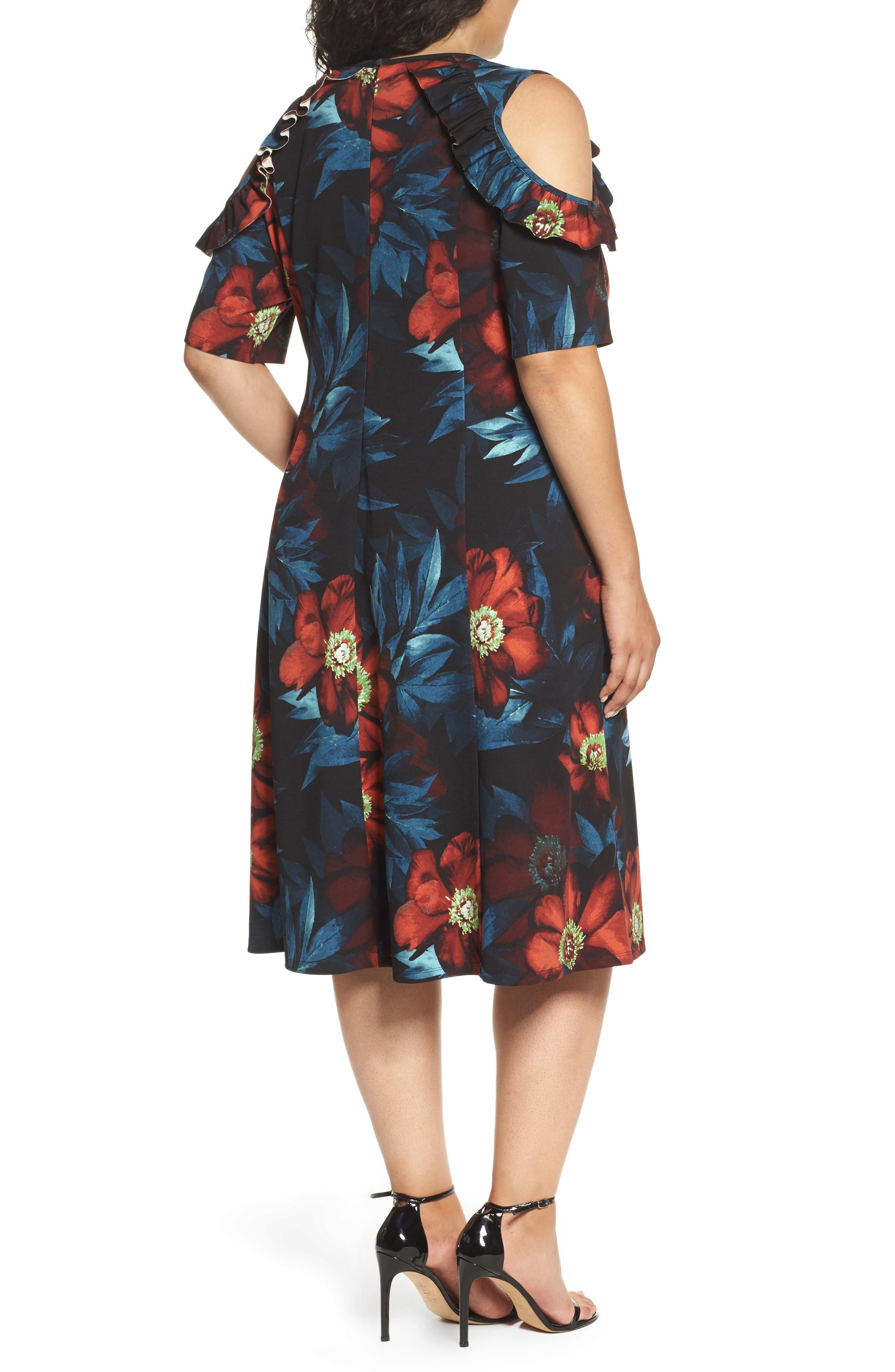 Cold Shoulder Floral A-Line Dress,                             Alternate thumbnail 2, color,                             001