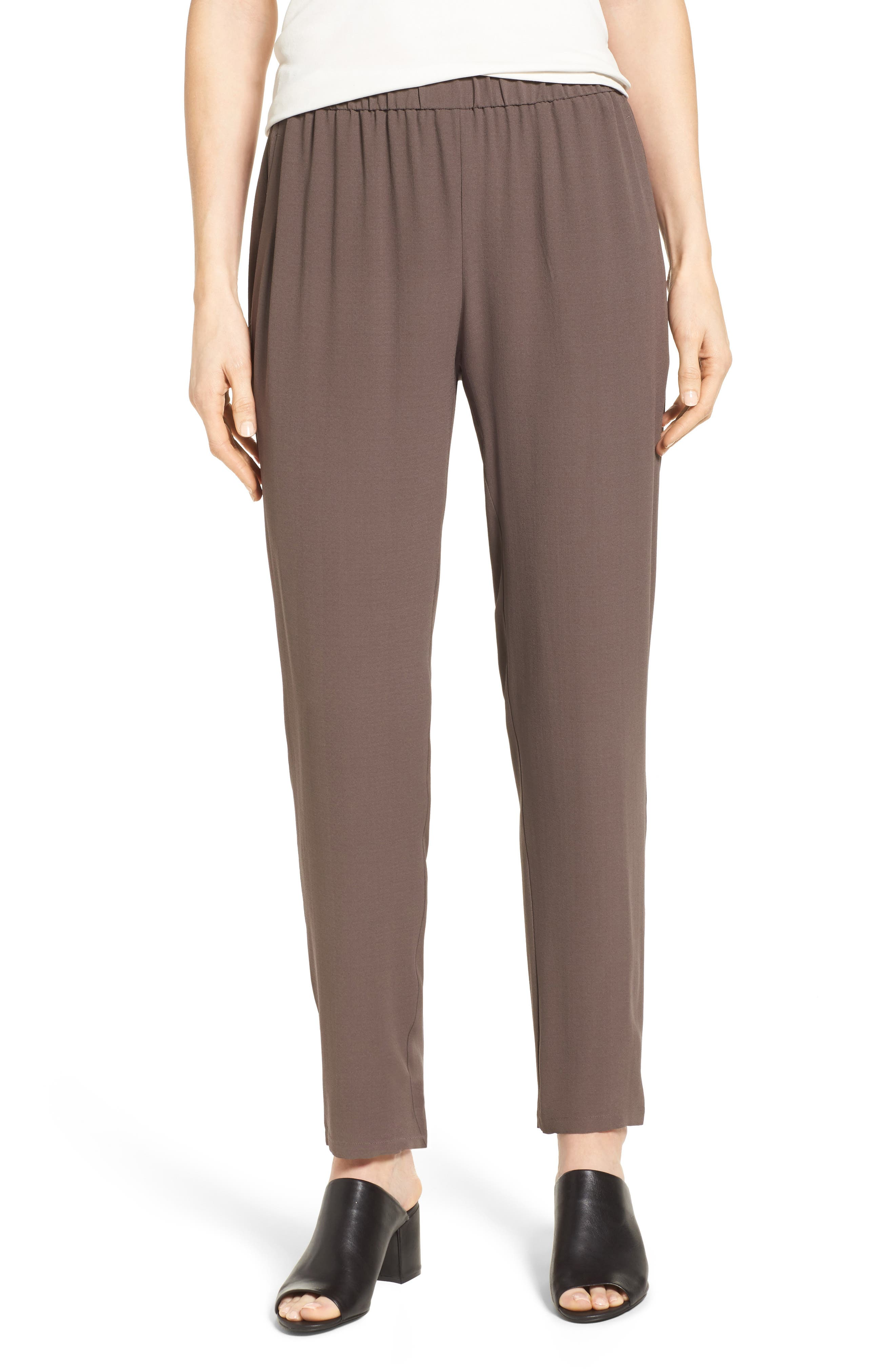 Slouchy Silk Crepe Ankle Pants,                             Main thumbnail 6, color,
