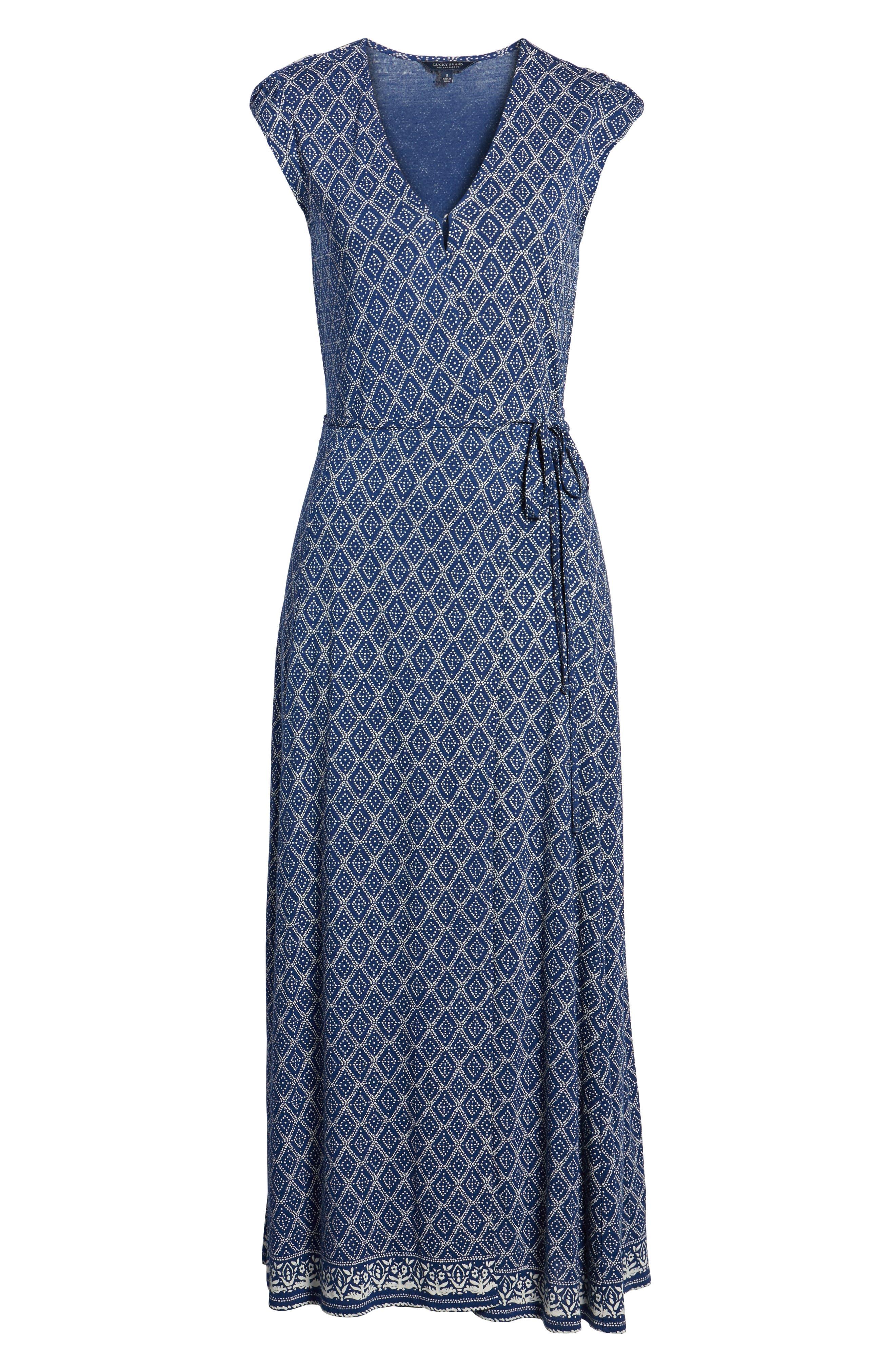Lucky Border Print Maxi Dress,                             Alternate thumbnail 7, color,                             490