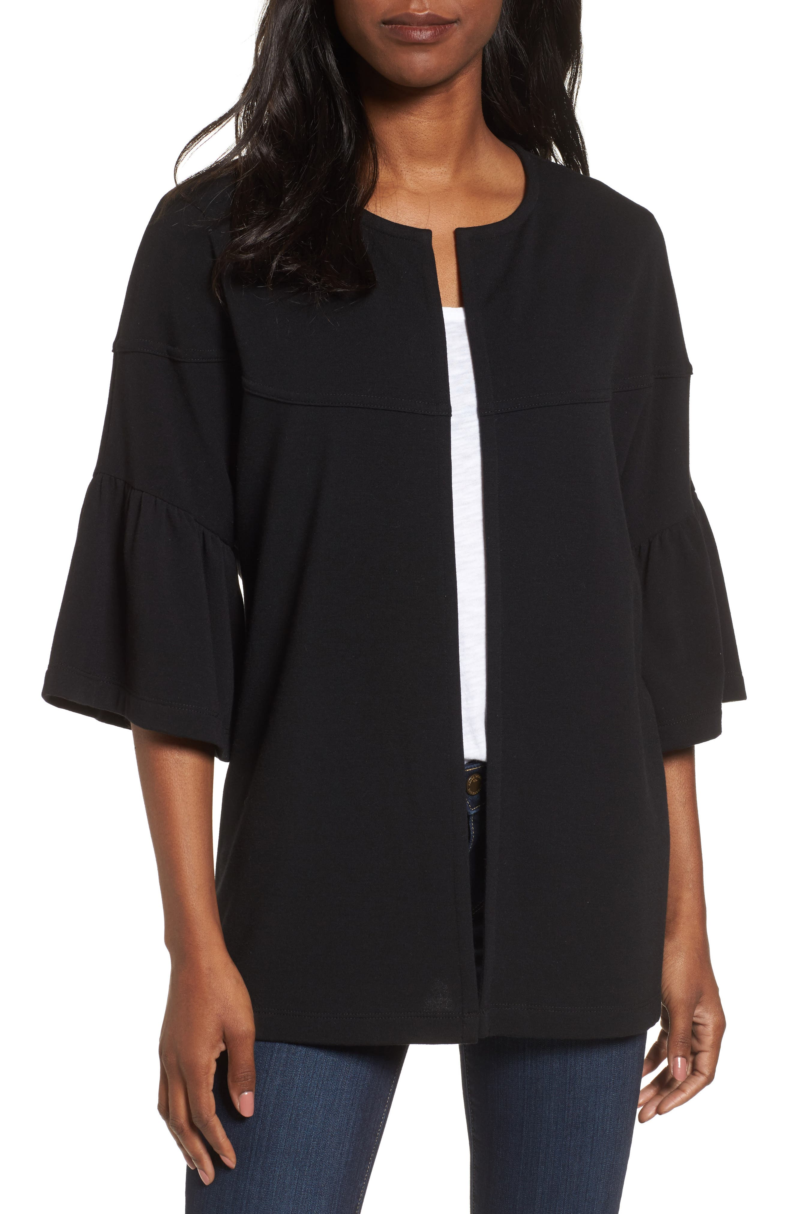 Bell Sleeve French Terry Jacket,                         Main,                         color, BLACK