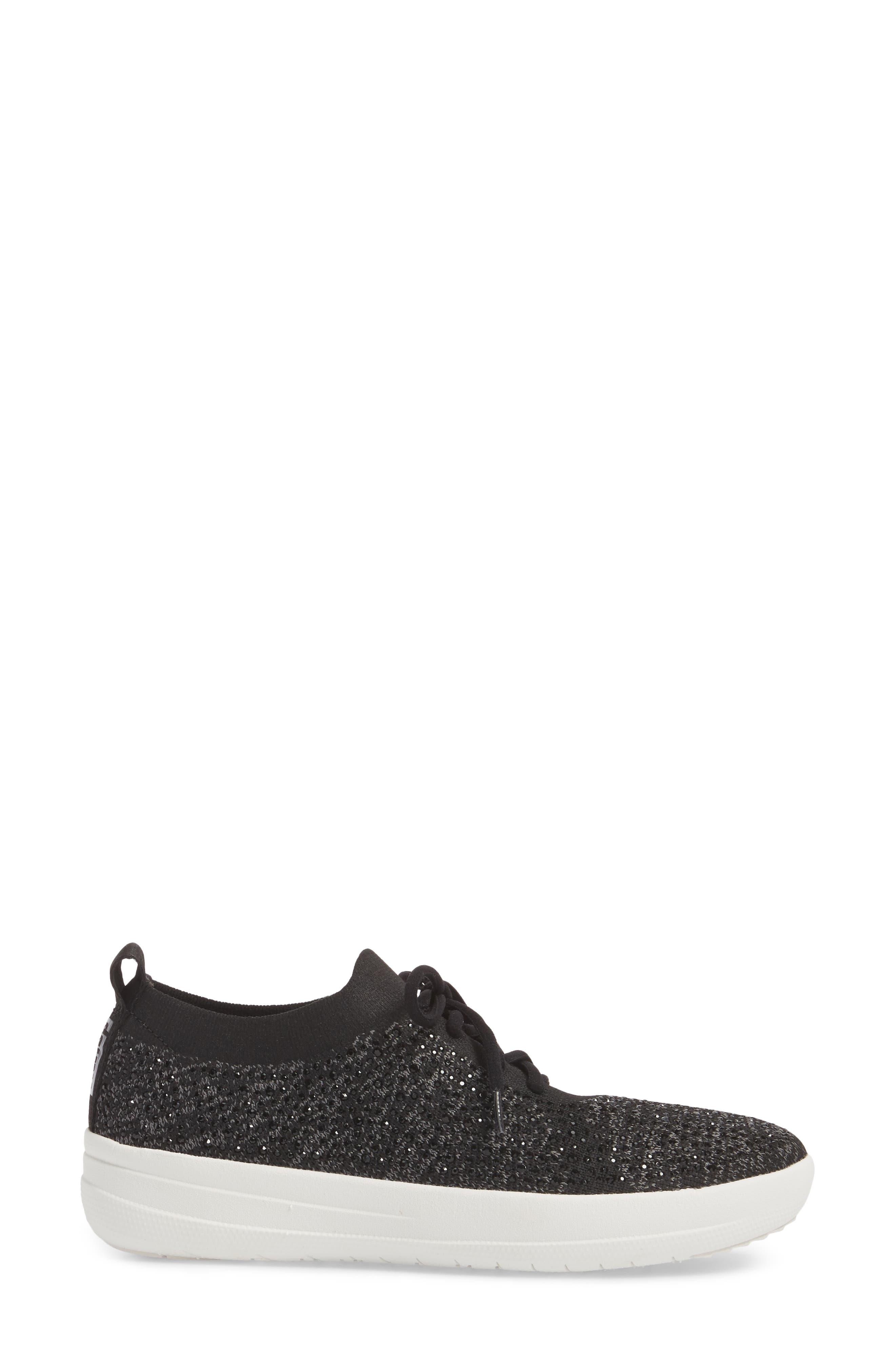 Uberknit<sup>™</sup> F-Sporty Sneaker,                             Alternate thumbnail 3, color,                             BLACK LEATHER