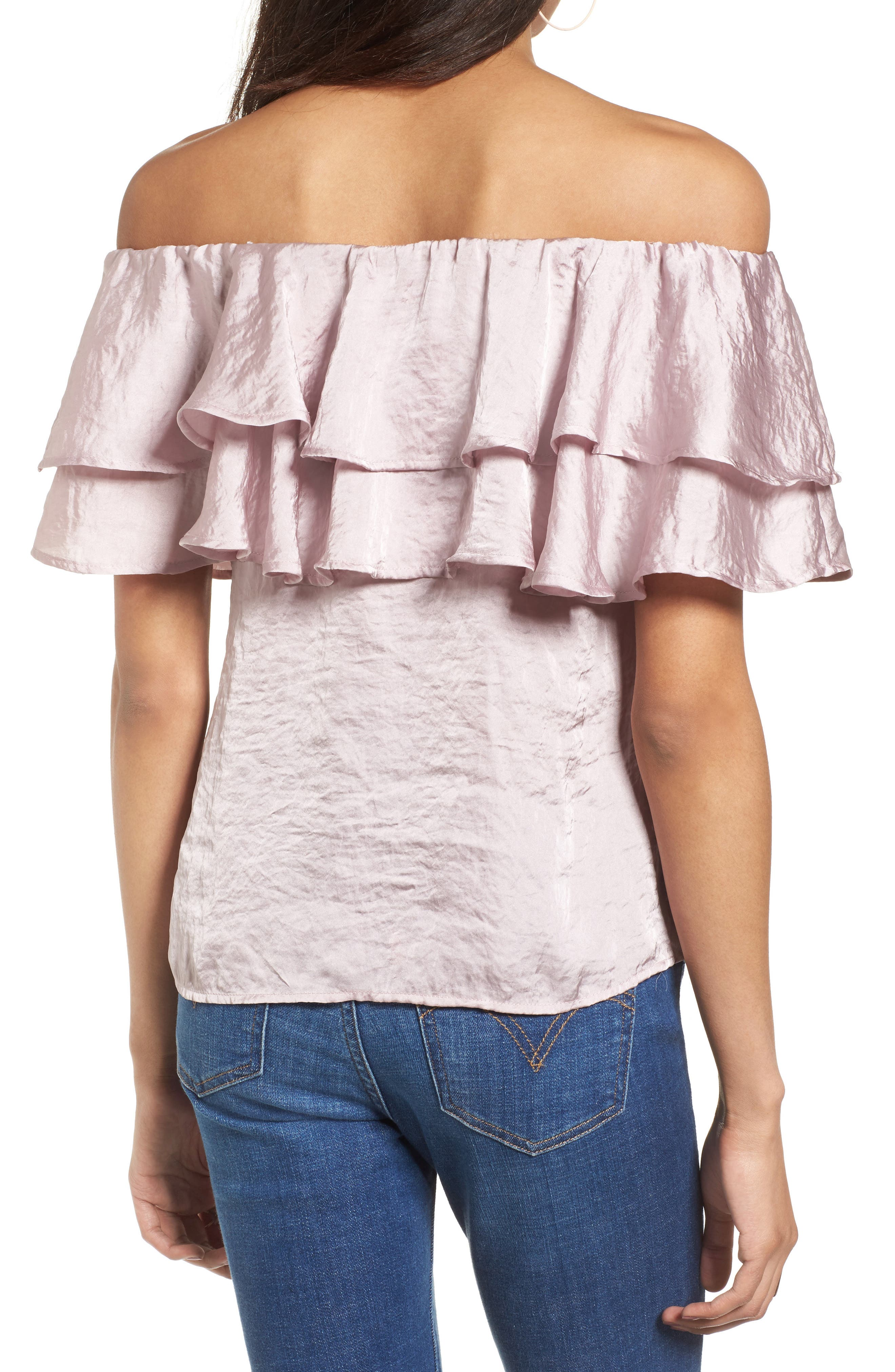 Ruffle Satin Off the Shoulder Top,                             Alternate thumbnail 2, color,                             530