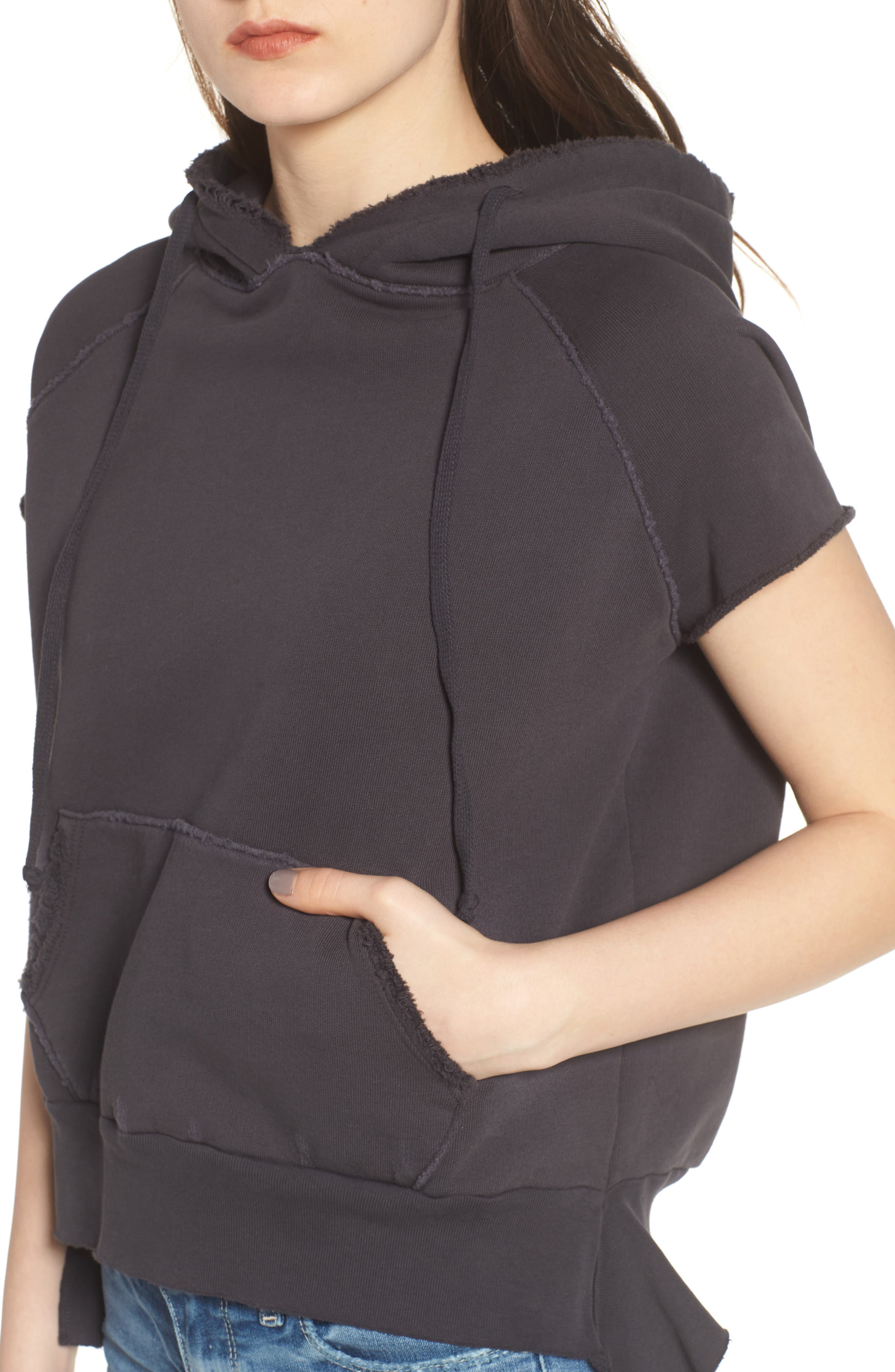 Short Sleeve Pullover Hoodie,                             Alternate thumbnail 4, color,                             020