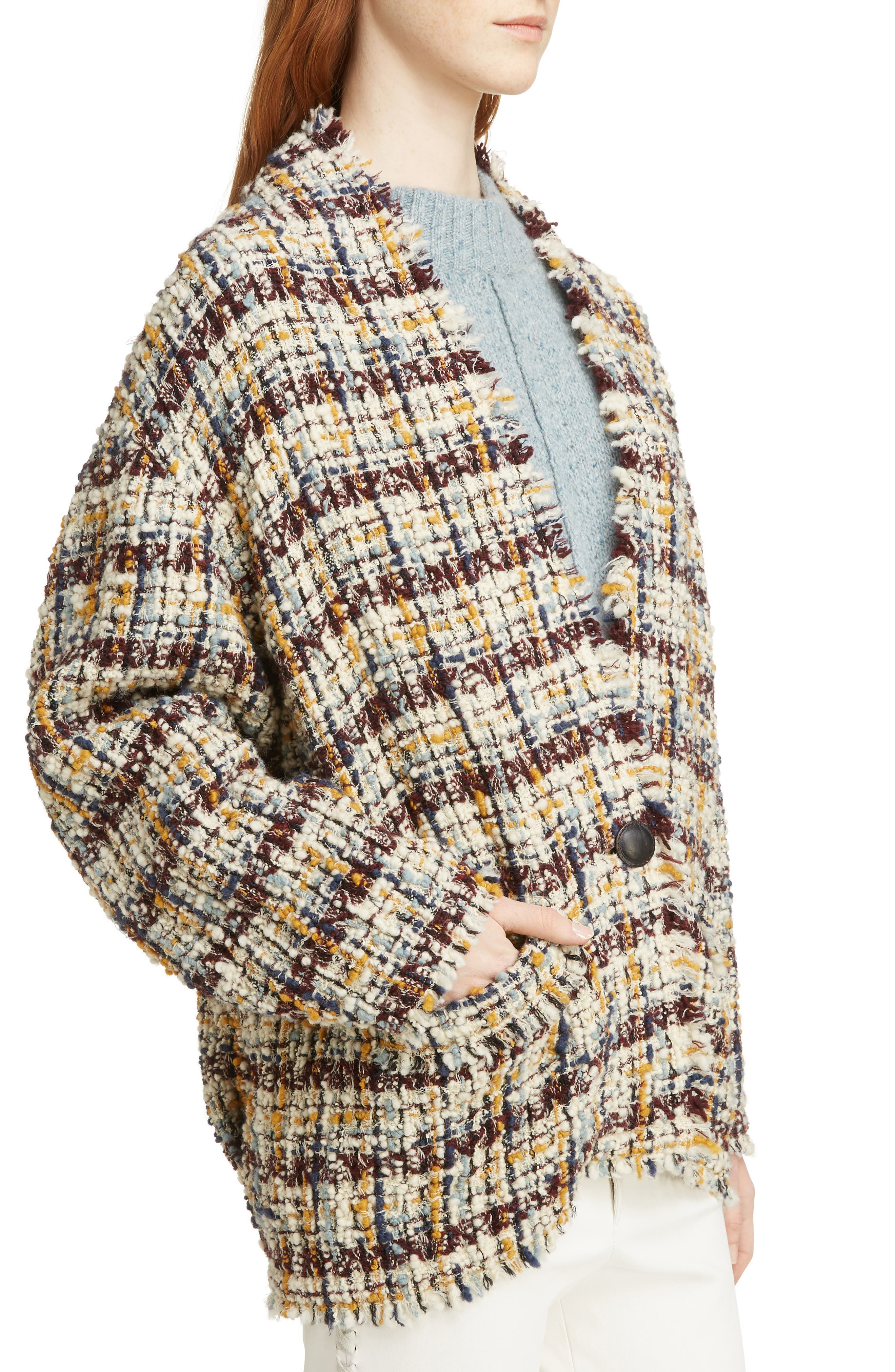 Wool Blend Tweed Coat,                             Alternate thumbnail 4, color,                             MULTICOLOR