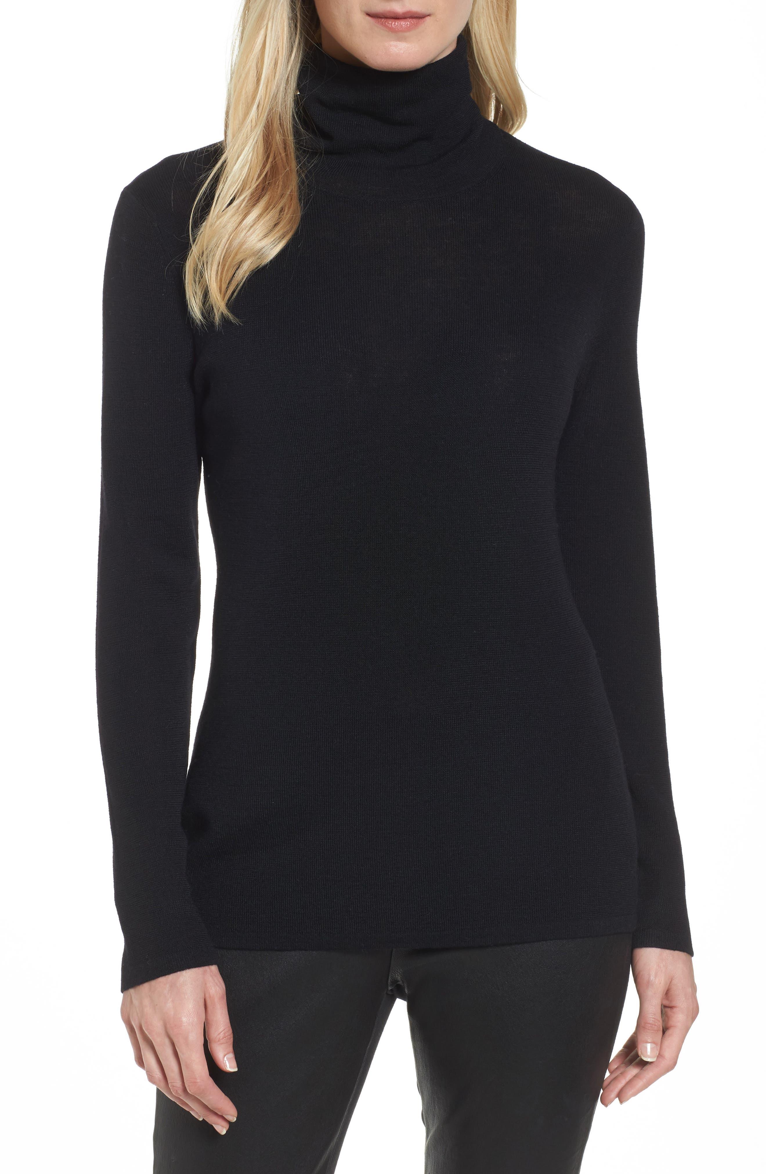The Fisher Project Ultrafine Merino Turtleneck Sweater,                         Main,                         color, 001