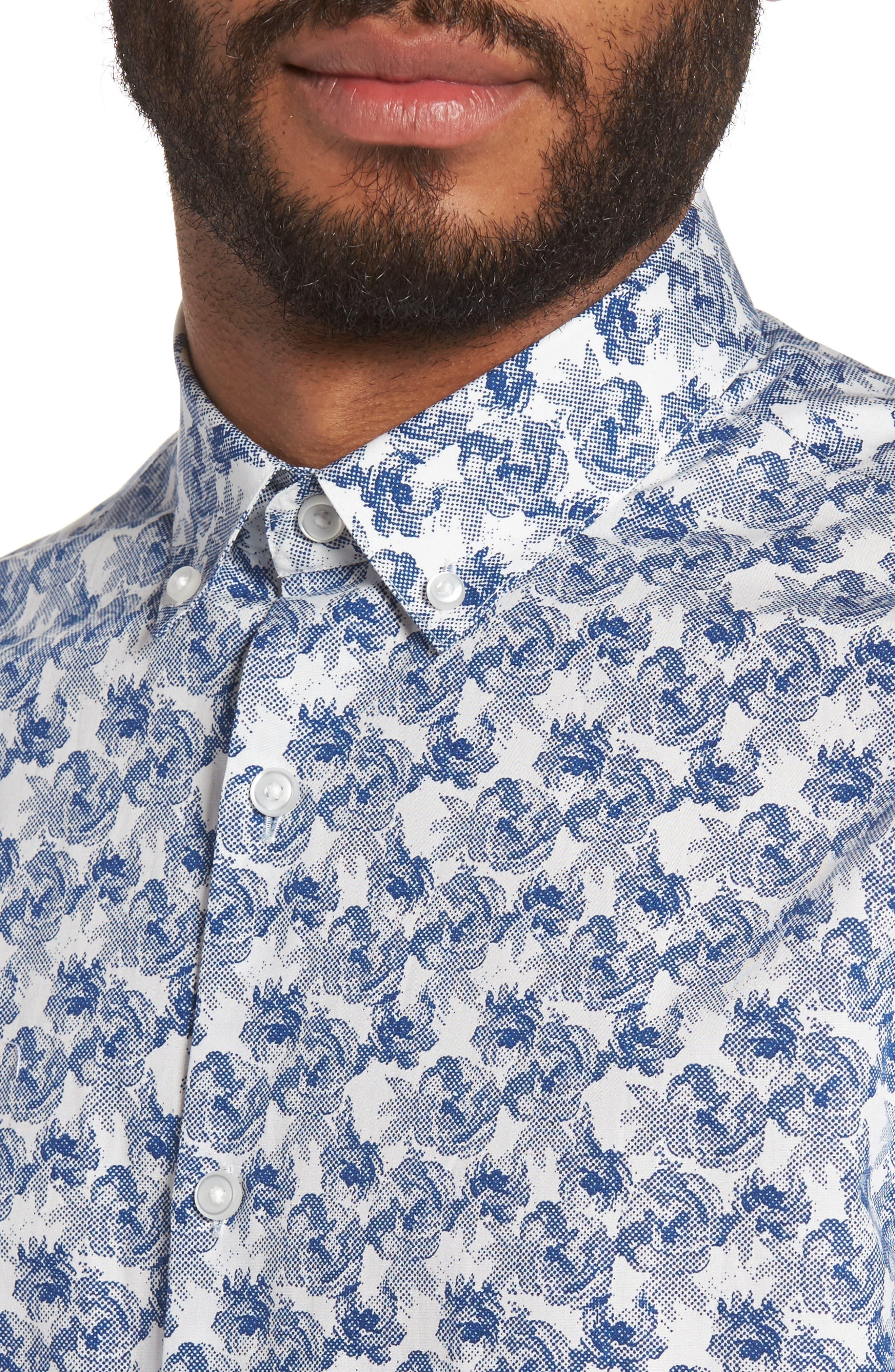 Slim Fit Print Sport Shirt,                             Alternate thumbnail 4, color,