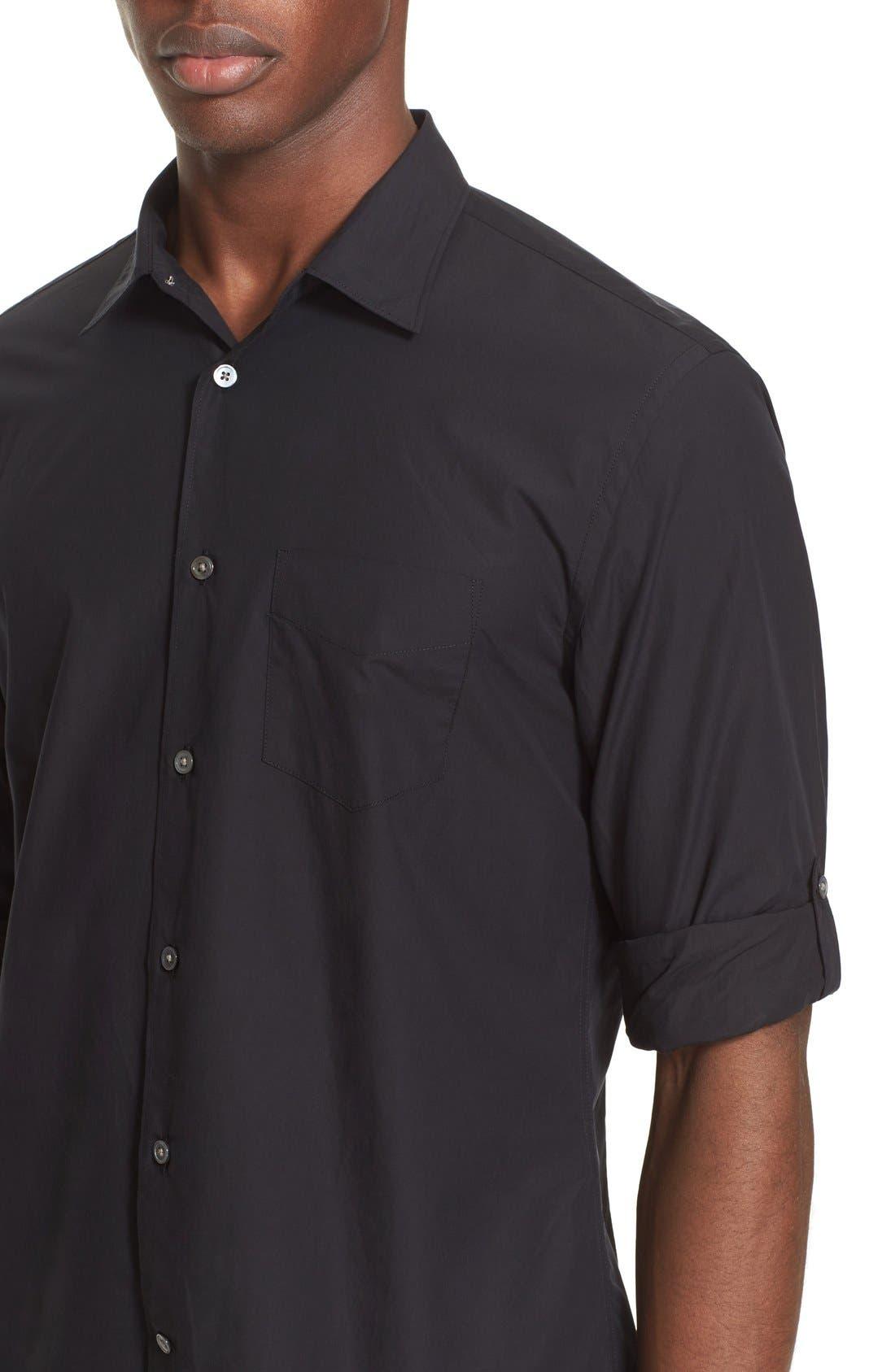 Slim Fit Sport Shirt,                             Alternate thumbnail 5, color,                             BLACK