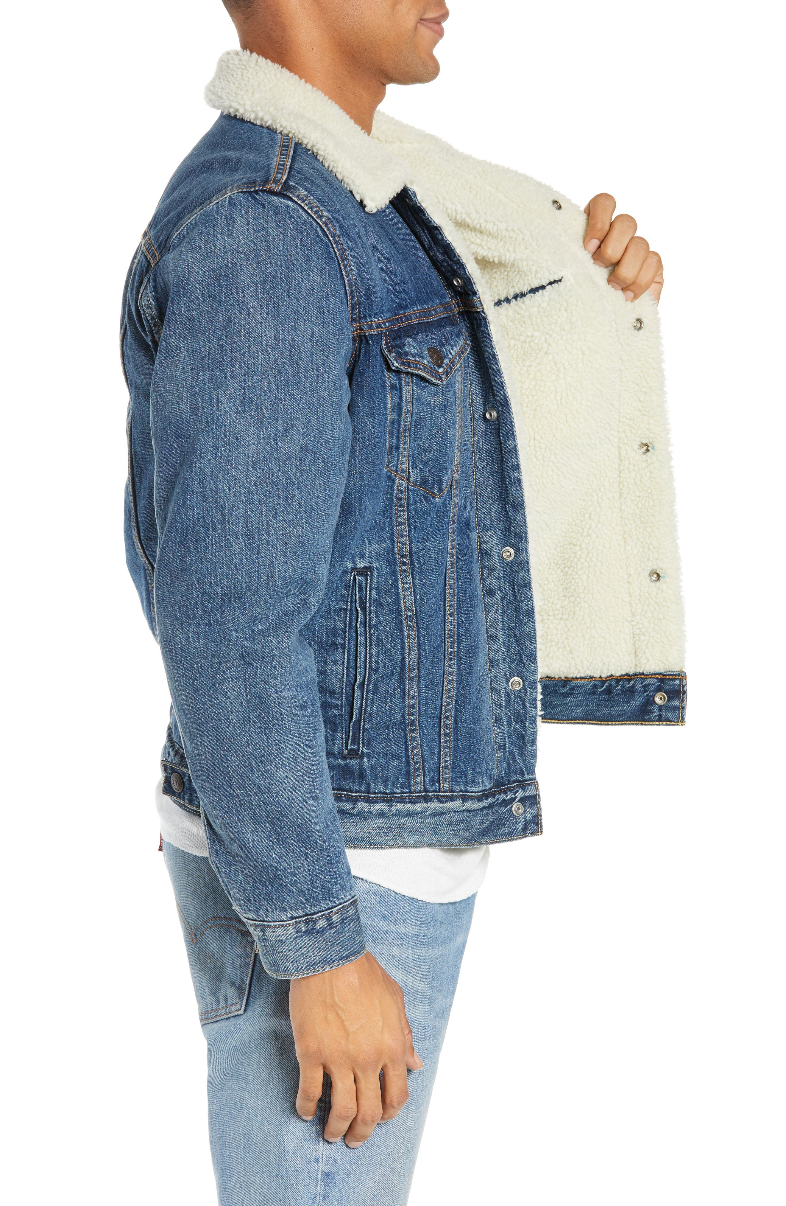 Faux Shearling Trim Denim Trucker Jacket,                             Alternate thumbnail 3, color,                             MAYS