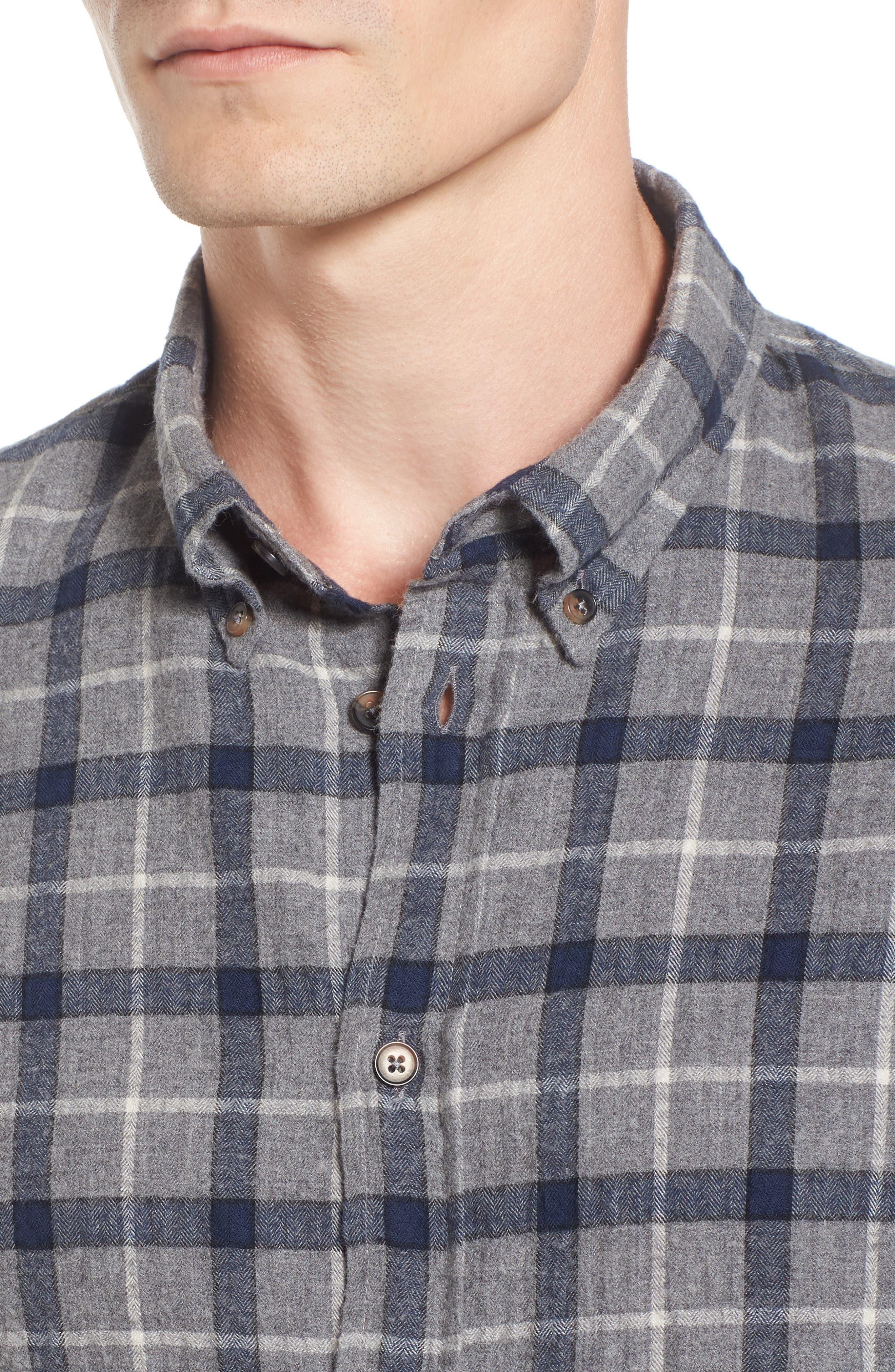 Murphy Slim Fit Plaid Sport Shirt,                             Alternate thumbnail 4, color,                             088