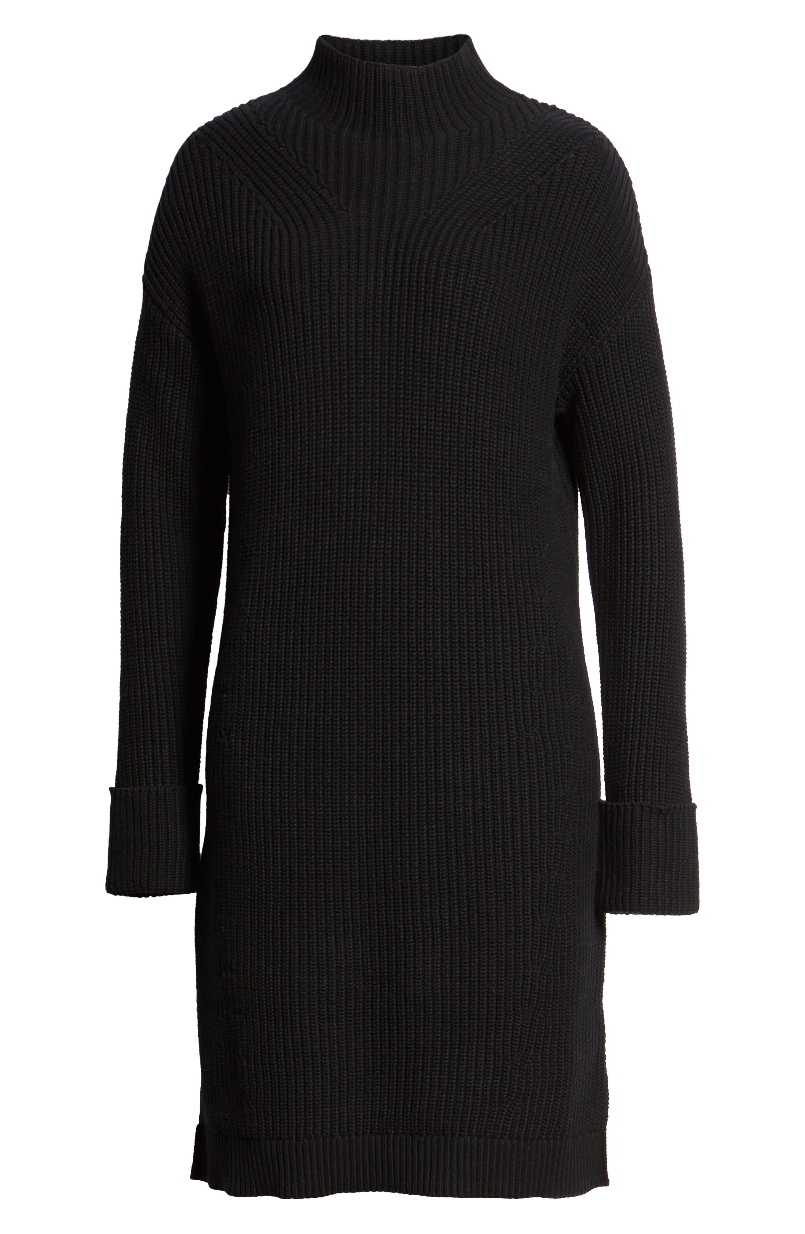 Ribbed Sweater Dress,                             Alternate thumbnail 7, color,                             BLACK