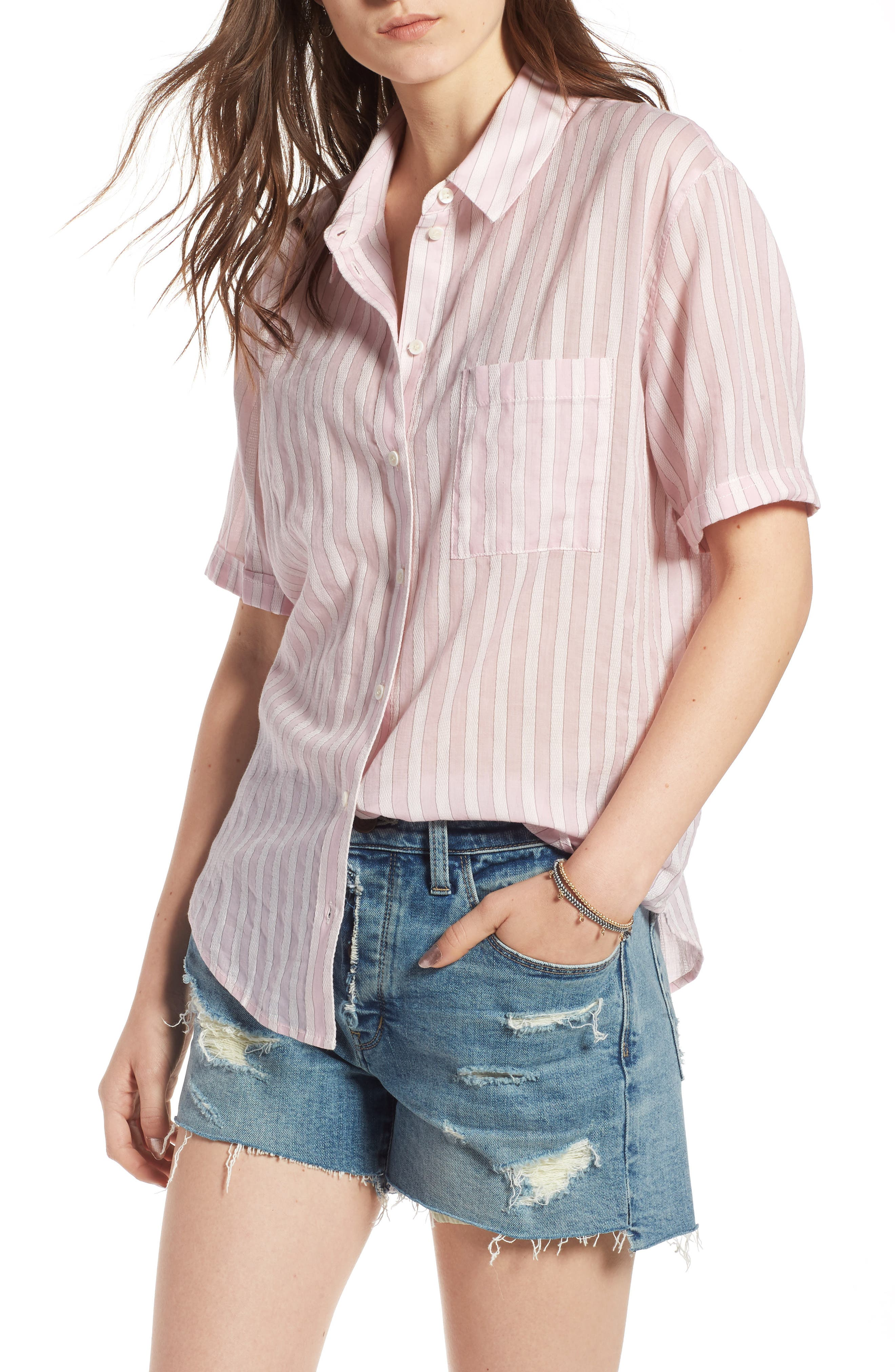 Stripe Shirt,                         Main,                         color, PINK OPAL TAILOR STRIPE