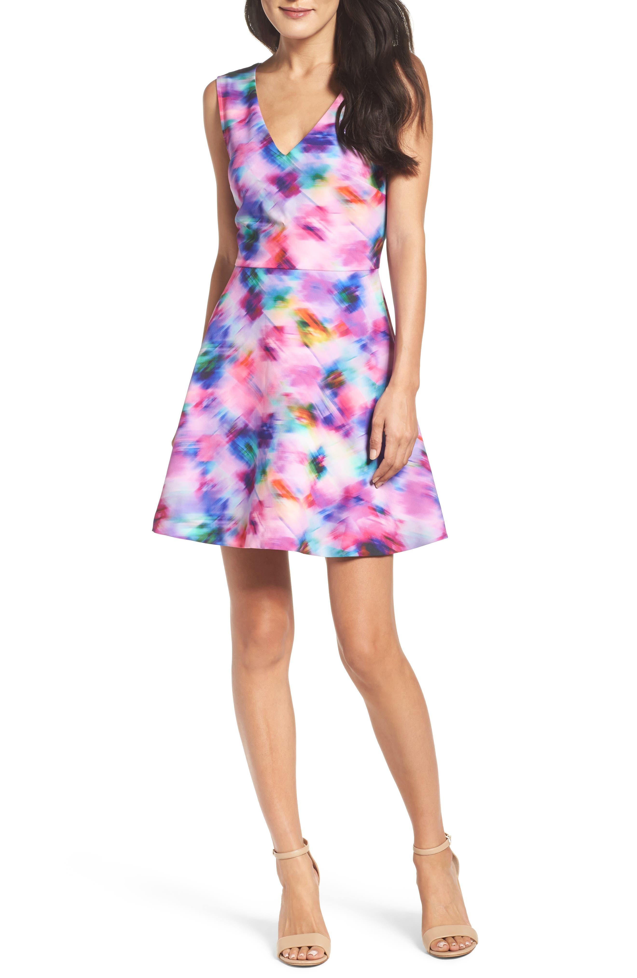 Bianca Back Cutout Fit & Flare Dress,                             Main thumbnail 9, color,