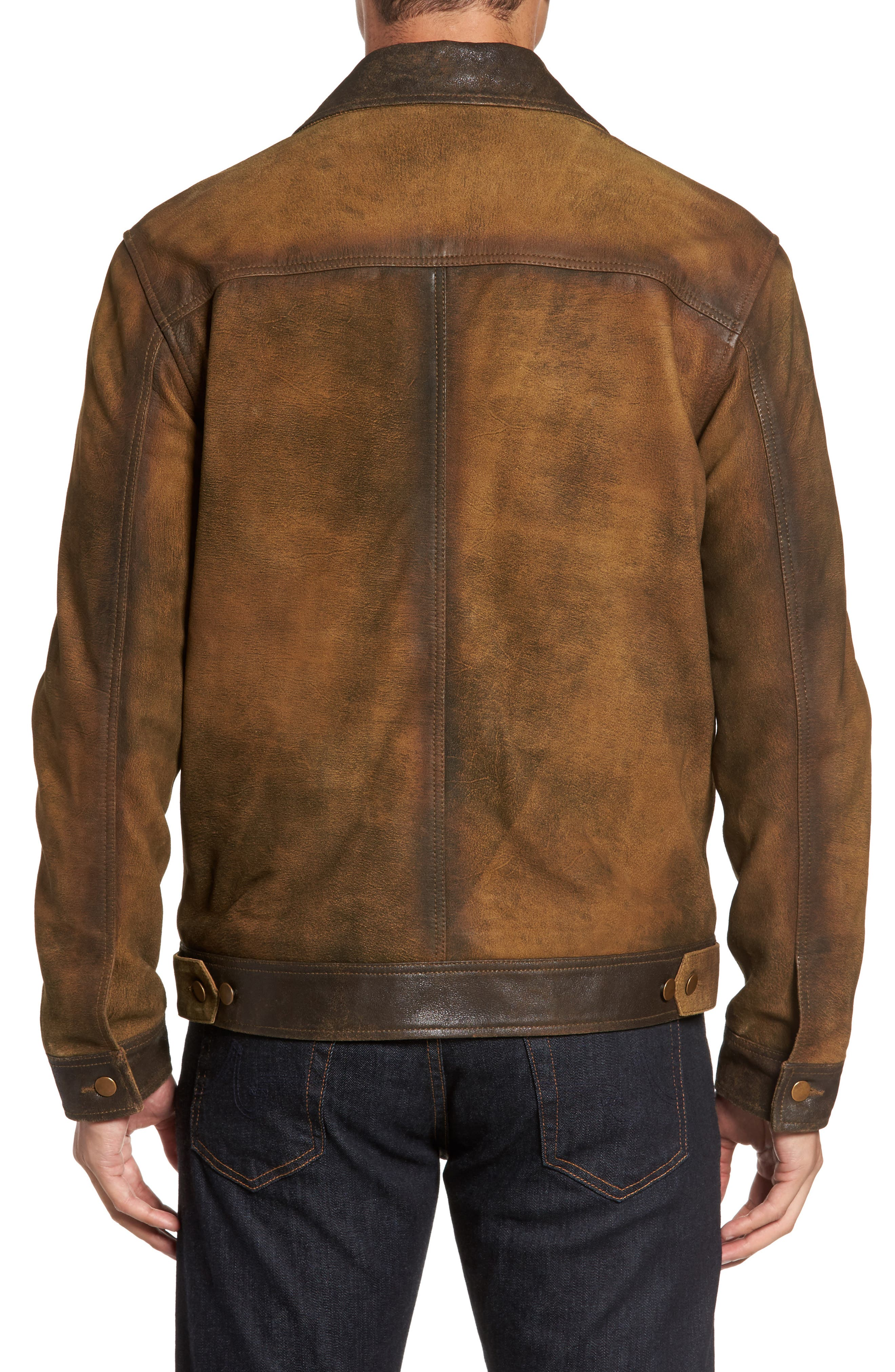 Distressed Leather Trucker Jacket,                             Alternate thumbnail 2, color,                             200