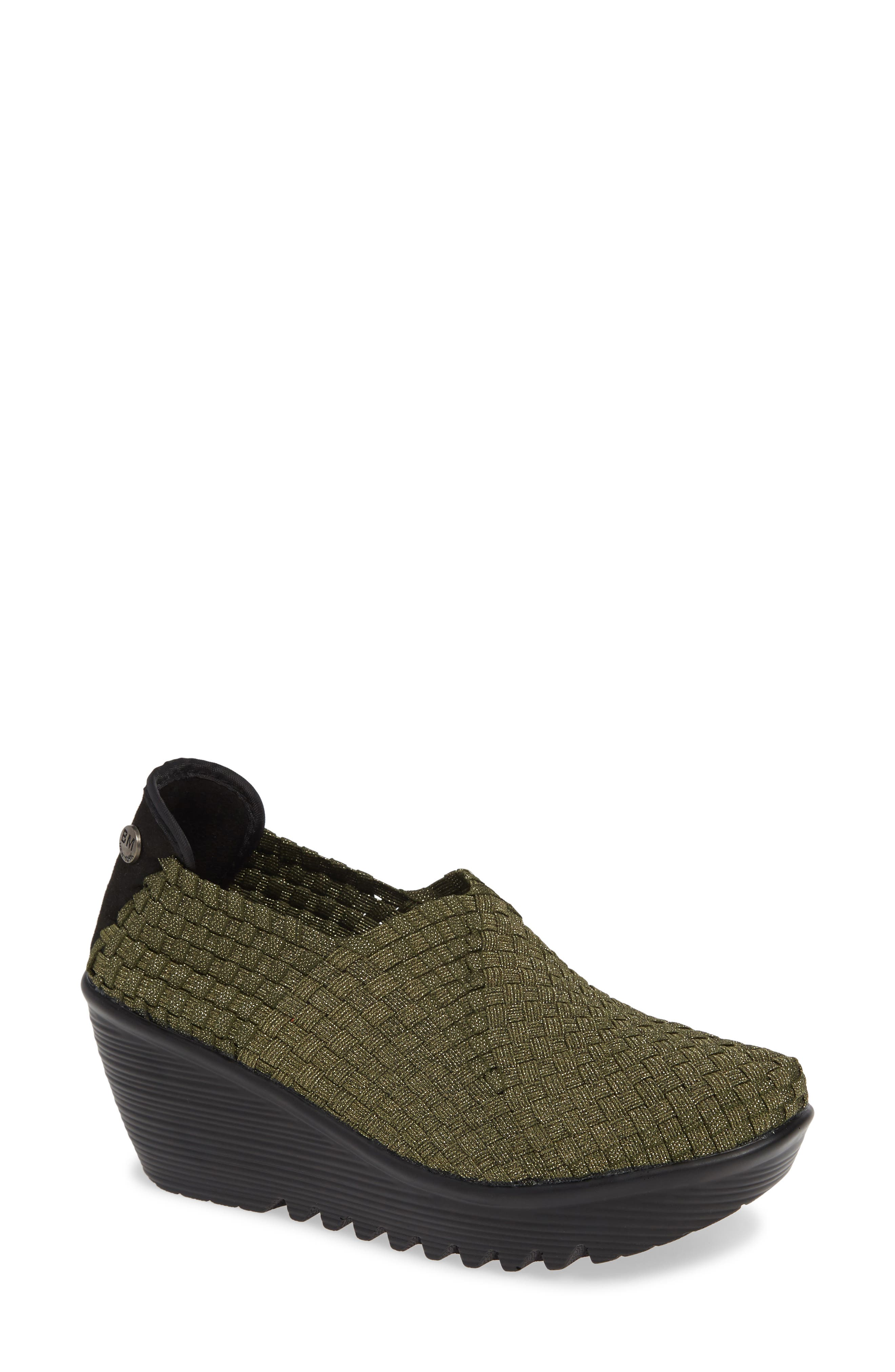 'Gem' Wedge,                             Main thumbnail 1, color,                             OLIVE SHIMMER FABRIC