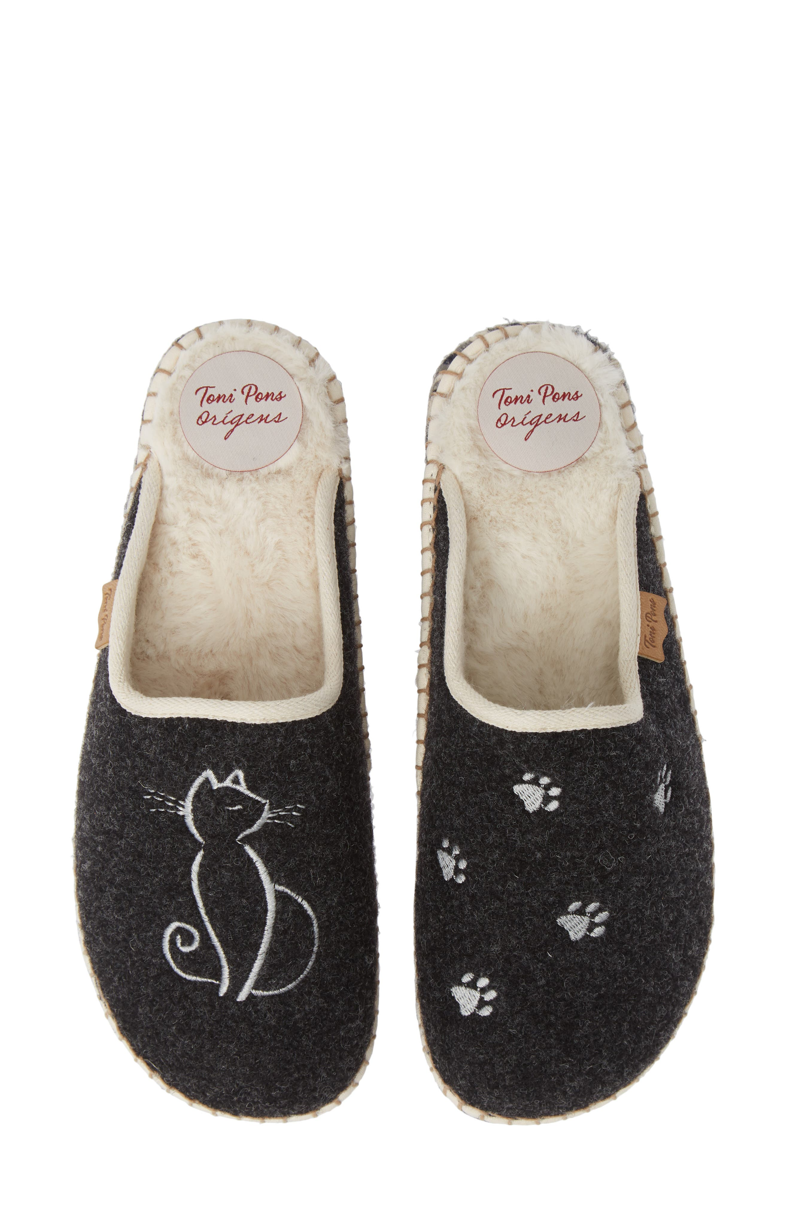 Mysen Faux Fur Lined Espadrille Slipper,                         Main,                         color, BLACK CAT FABRIC