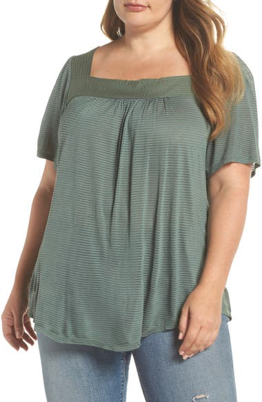 3593ec77292 Lucky Brand Shadow Stripe Peasant Top (Plus Size)