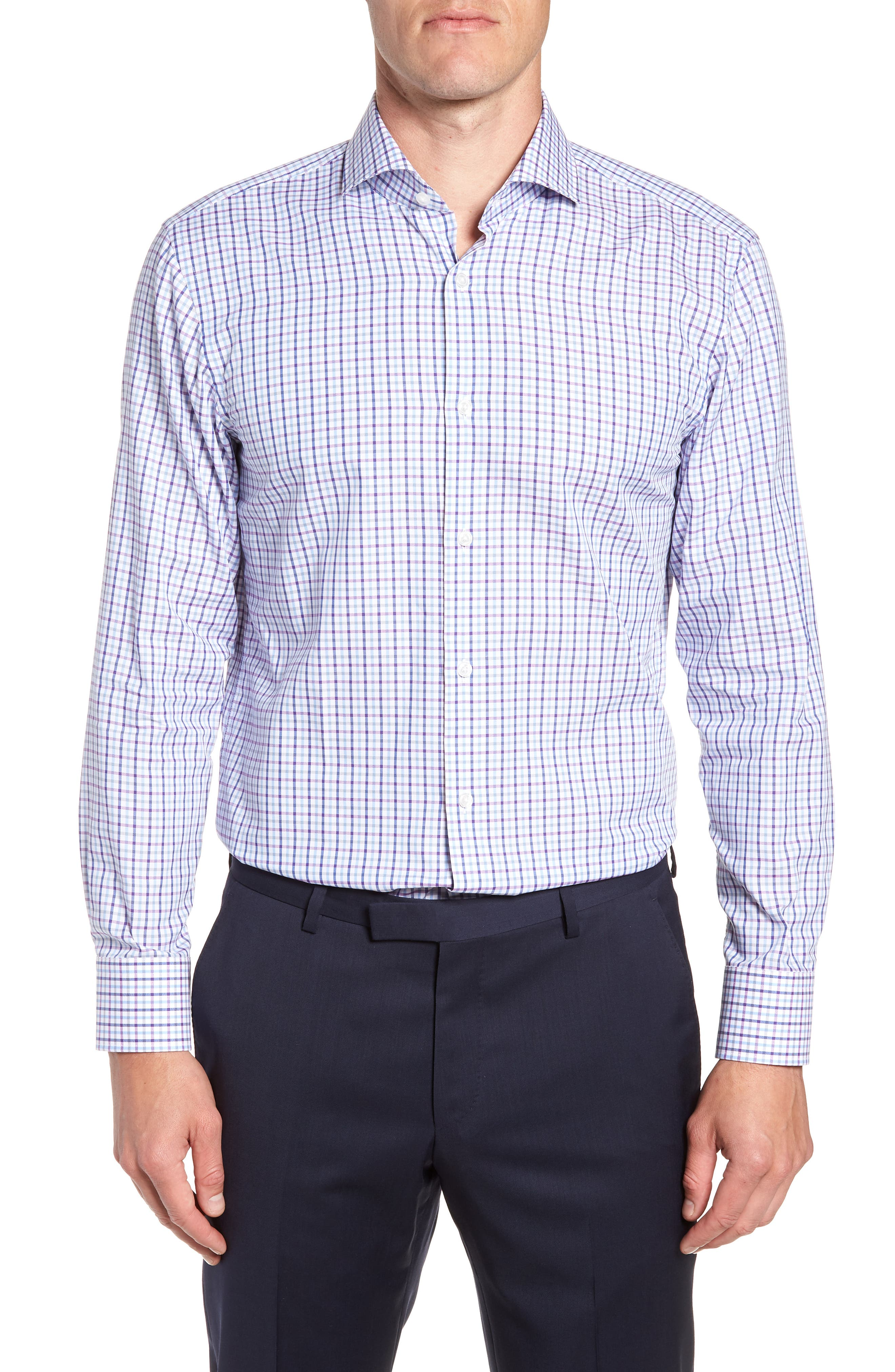 Sharp Fit Mark Check Dress Shirt,                         Main,                         color, PURPLE