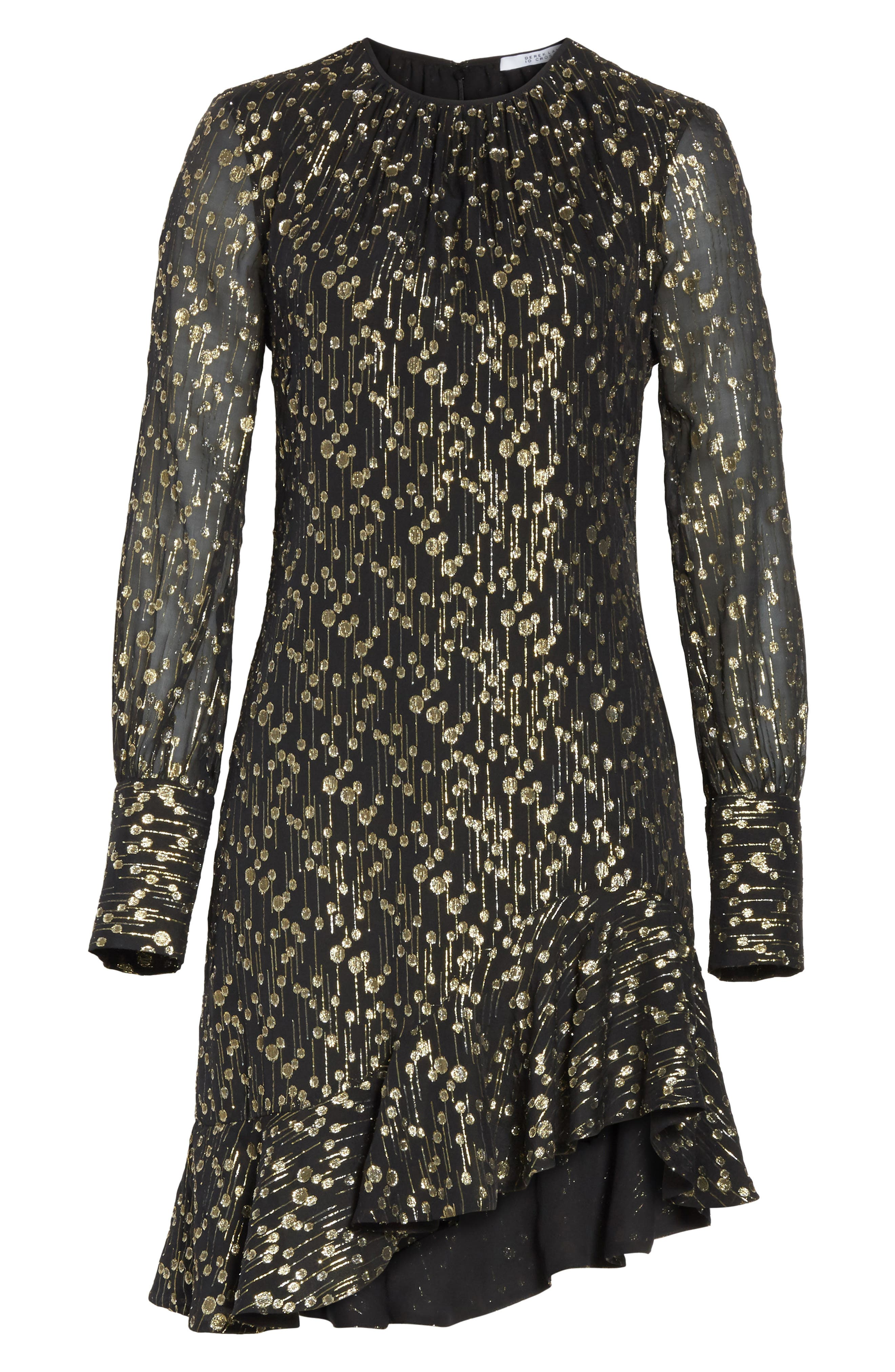 Metallic Dot Asymmetrical Ruffle Dress,                             Alternate thumbnail 6, color,                             001
