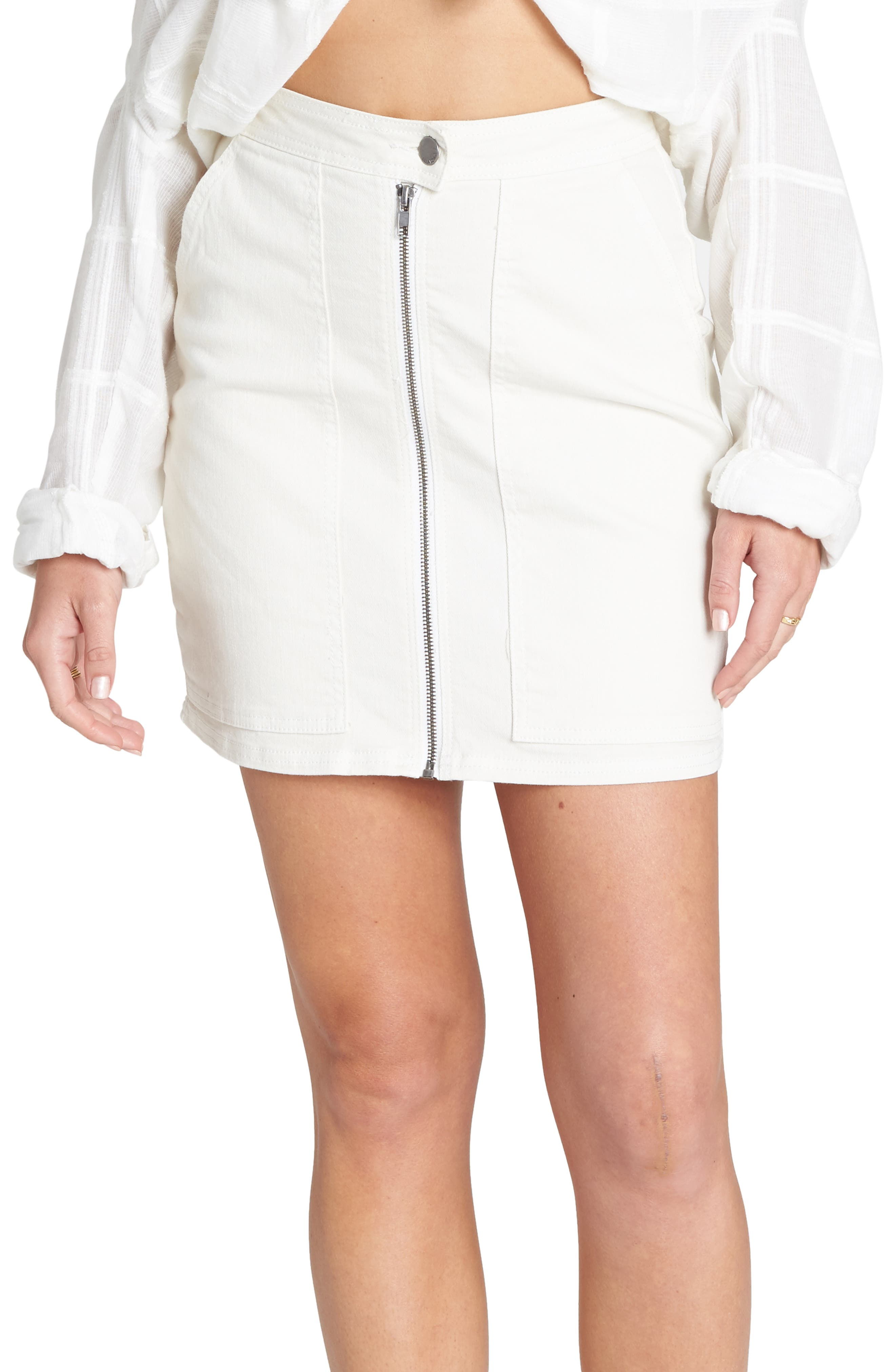 Billabong Ride Right Denim Miniskirt, Ivory