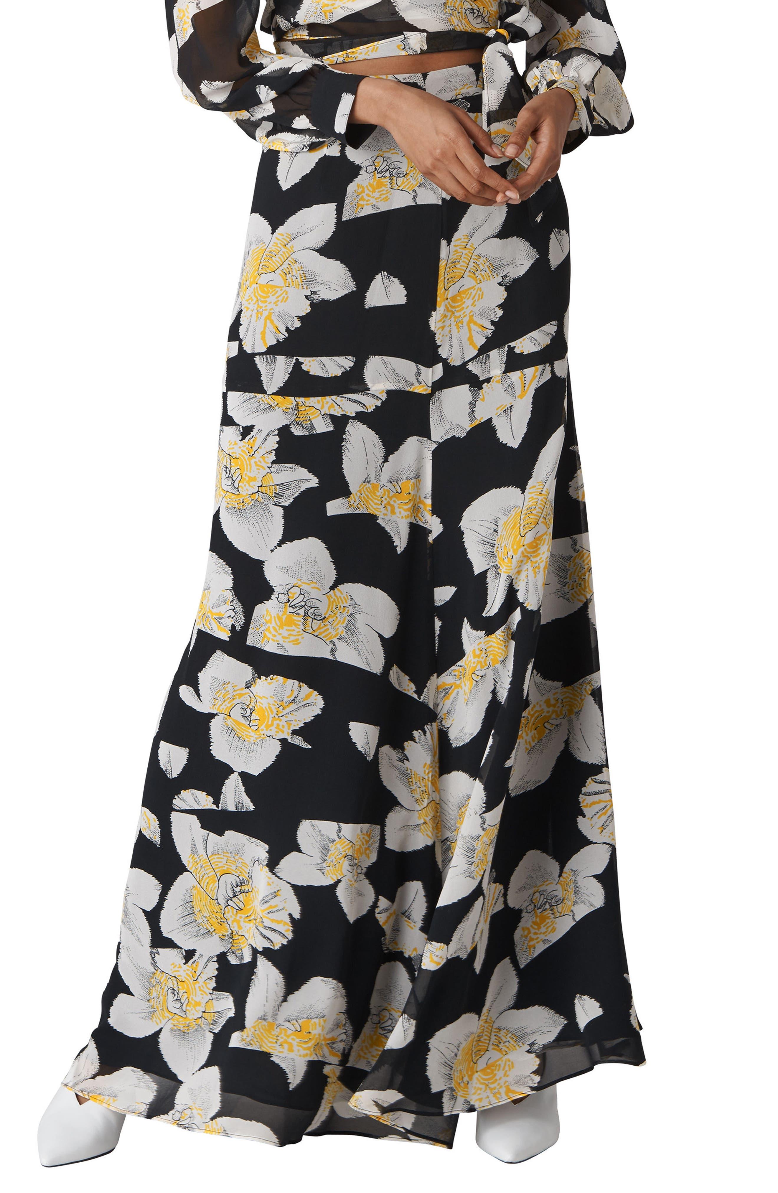 Rika Floral Silk Maxi Skirt,                         Main,                         color, 001