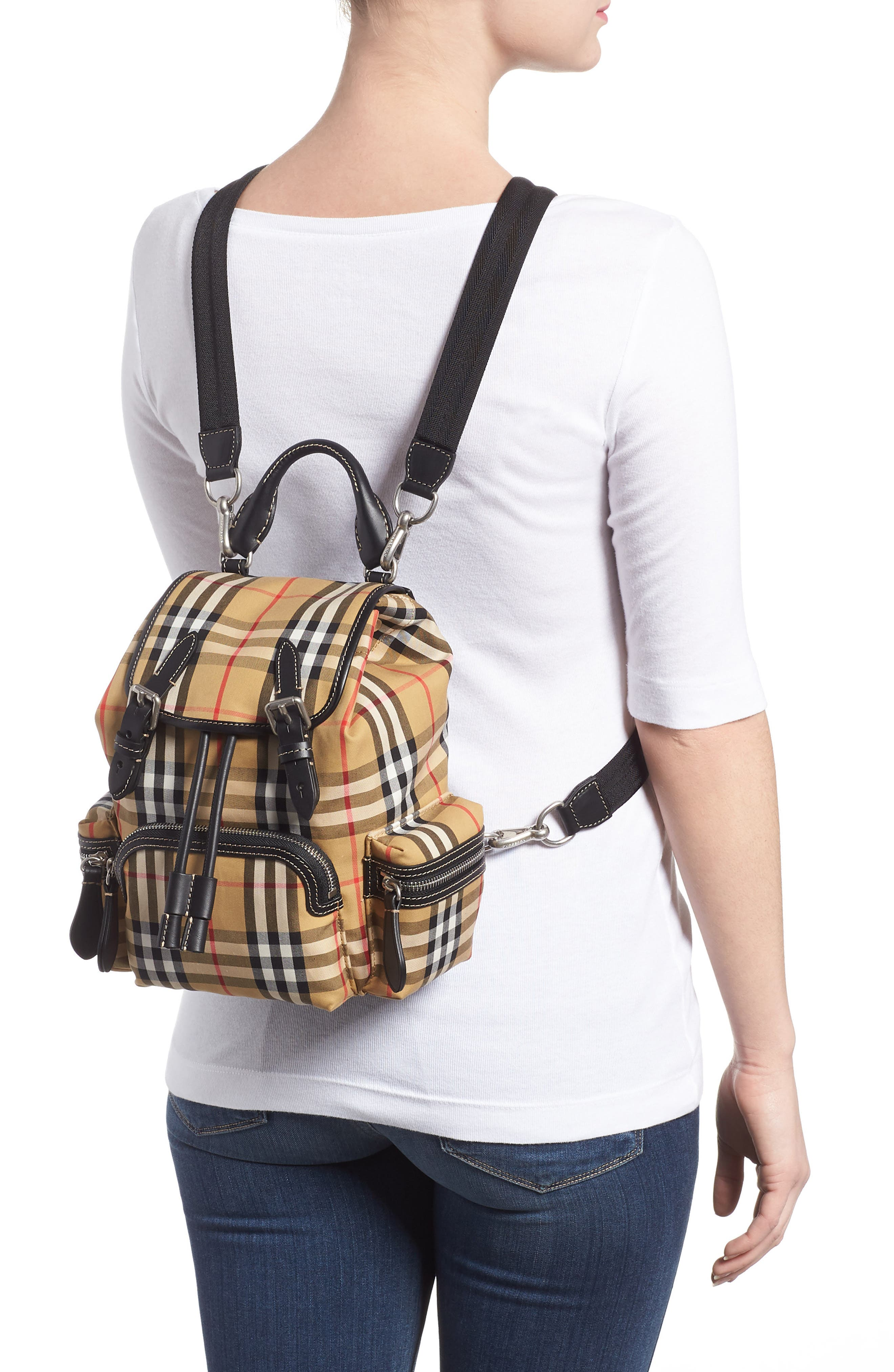 Small Rucksack Check Cotton Backpack,                             Alternate thumbnail 2, color,                             ANTIQUE YELLOW