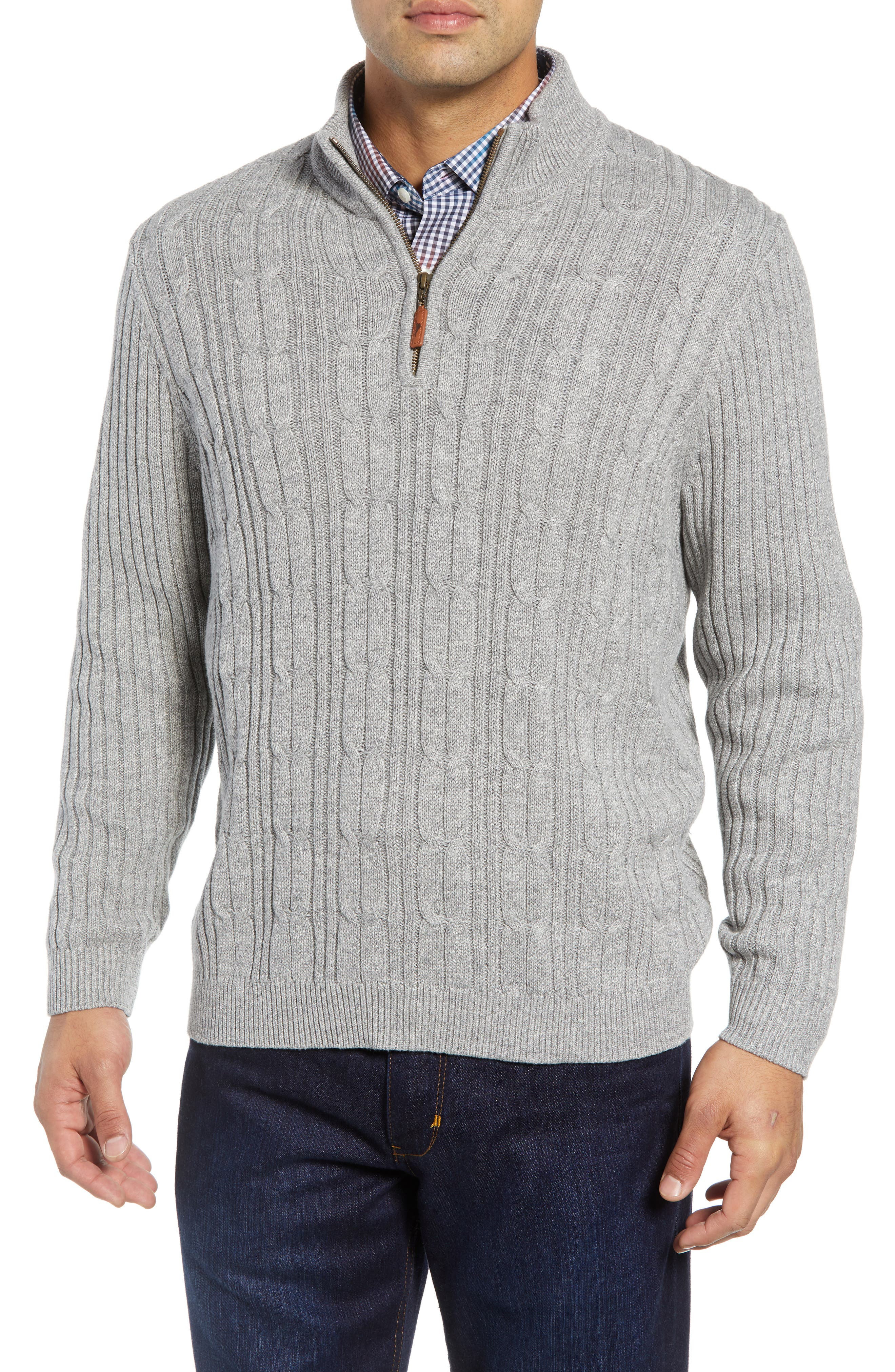 Tenorio Cable Knit Zip Sweater,                             Main thumbnail 1, color,                             LIGHT STORM