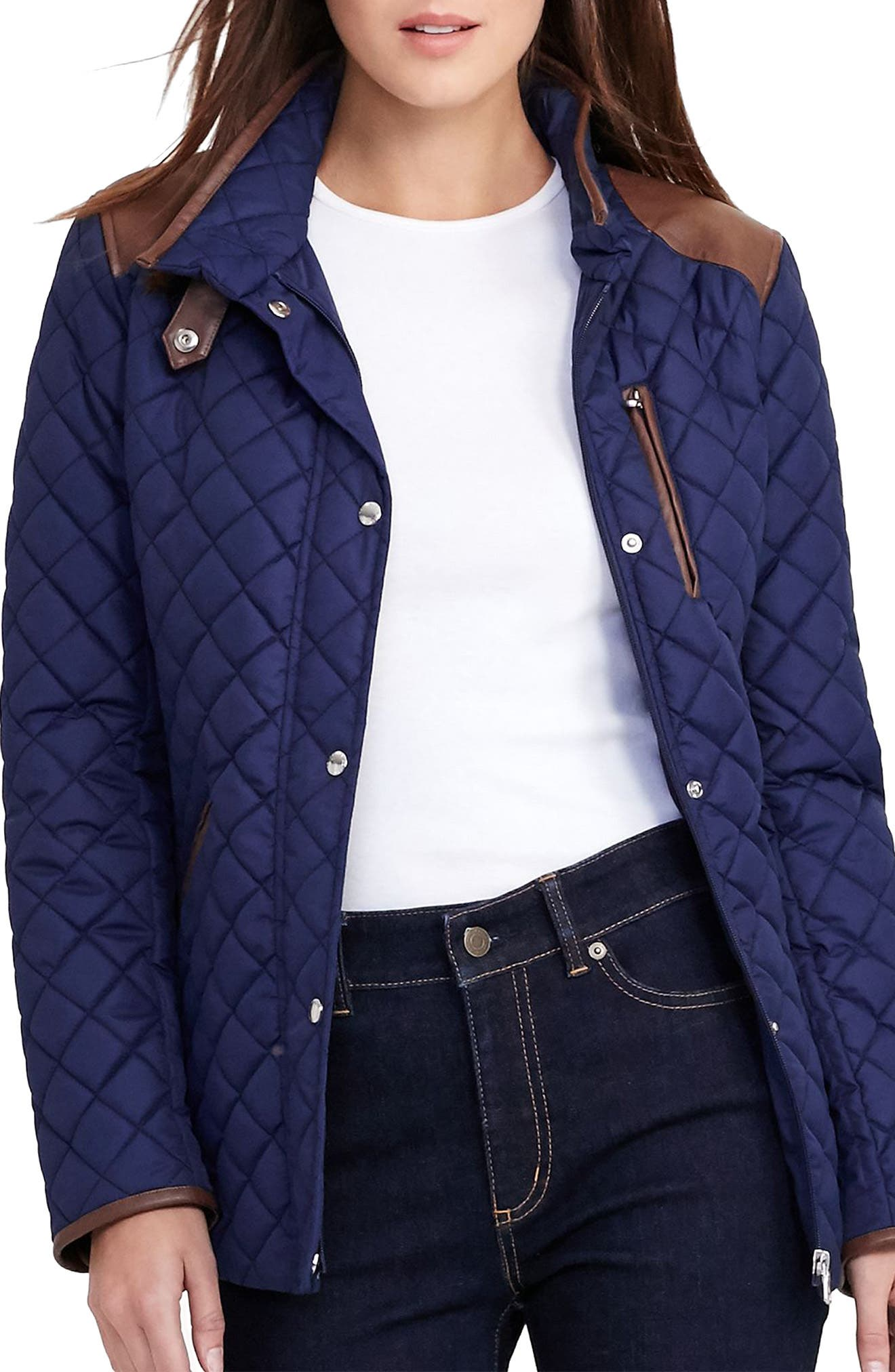 Faux Leather Trim Quilted Jacket,                             Main thumbnail 7, color,