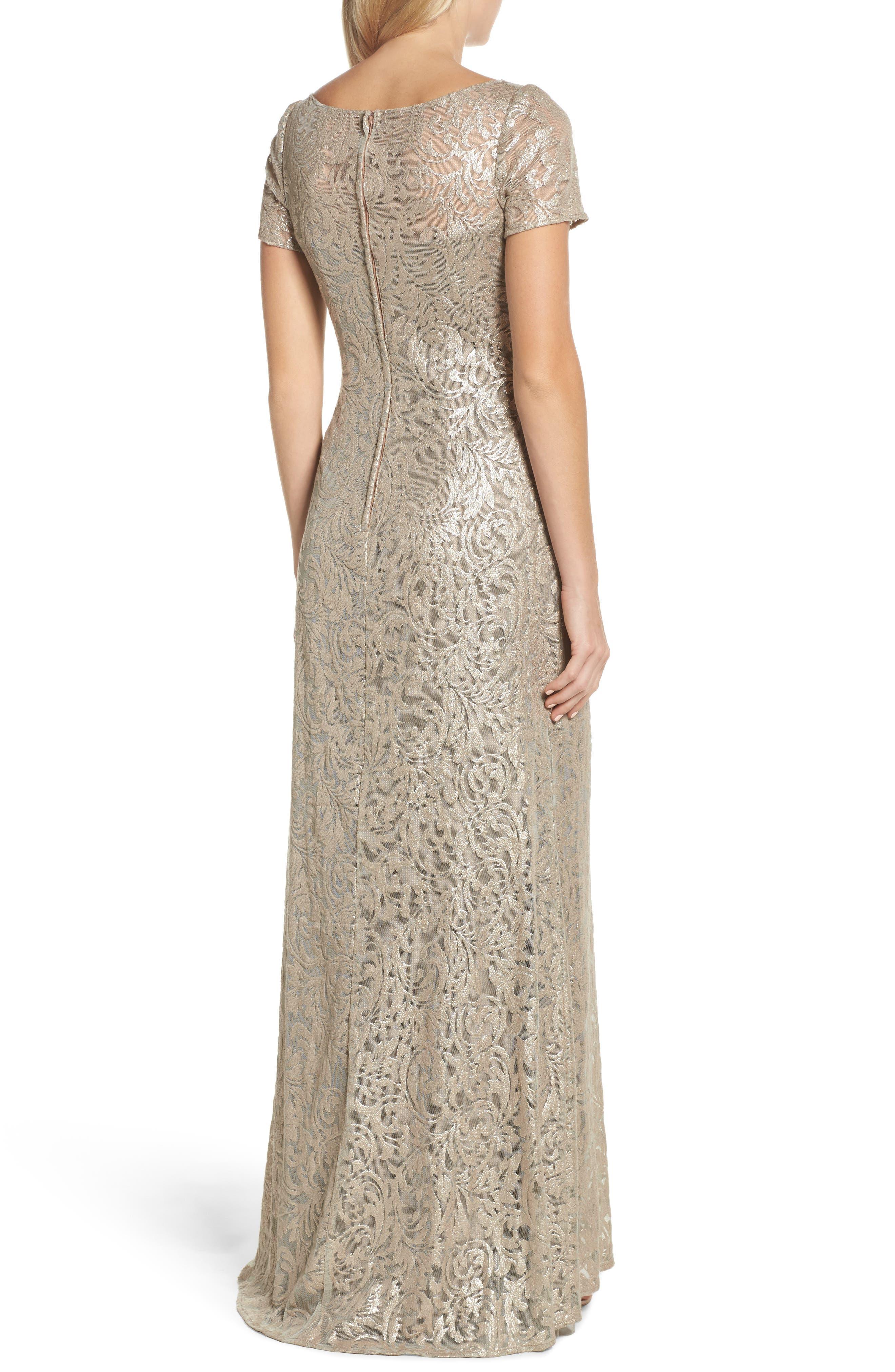 Shimmer Jacquard Gown,                             Alternate thumbnail 2, color,                             LIGHT GOLD