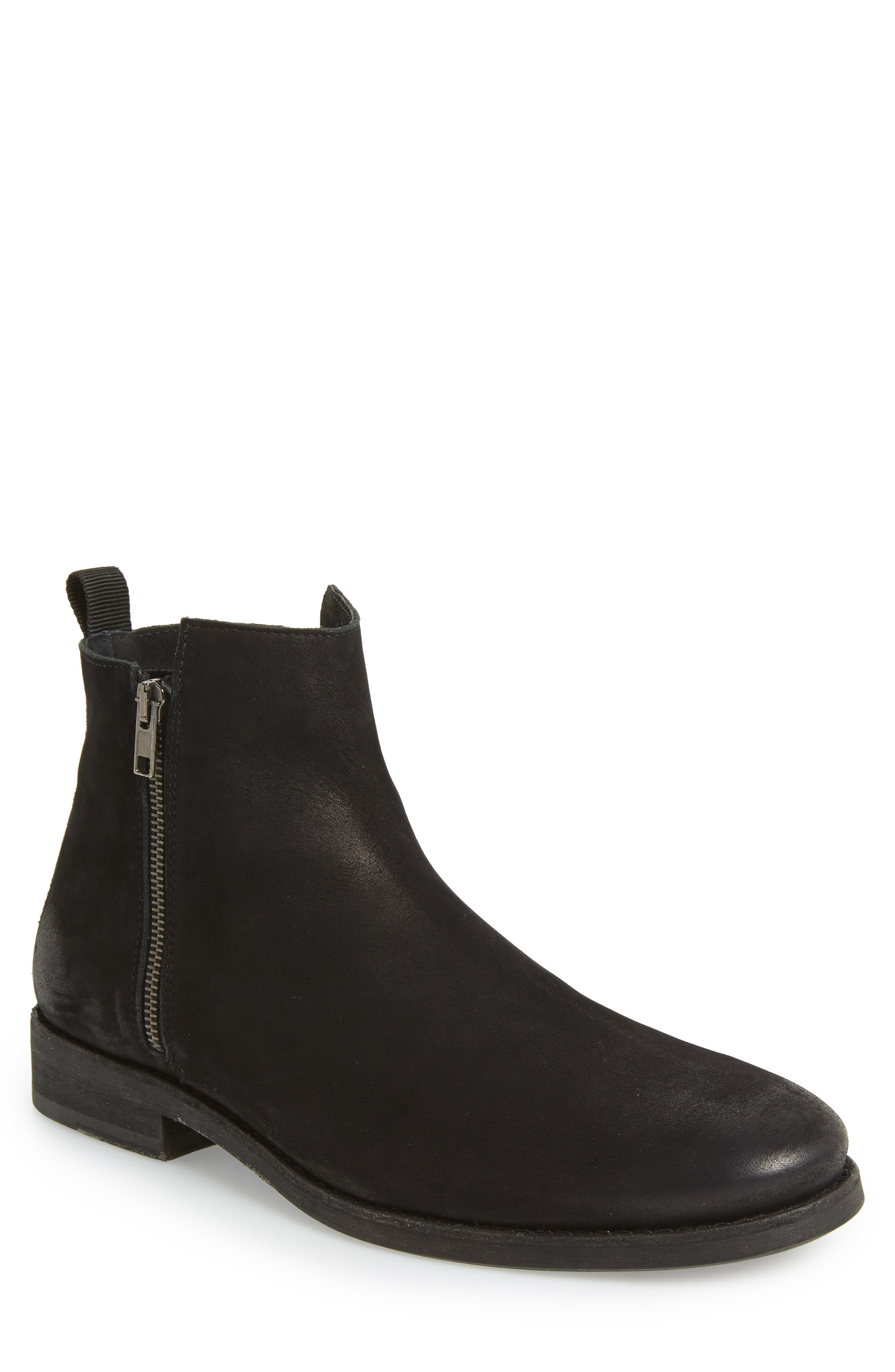 SUPPLY LAB Vance Double Zipper Boot in Black Leather