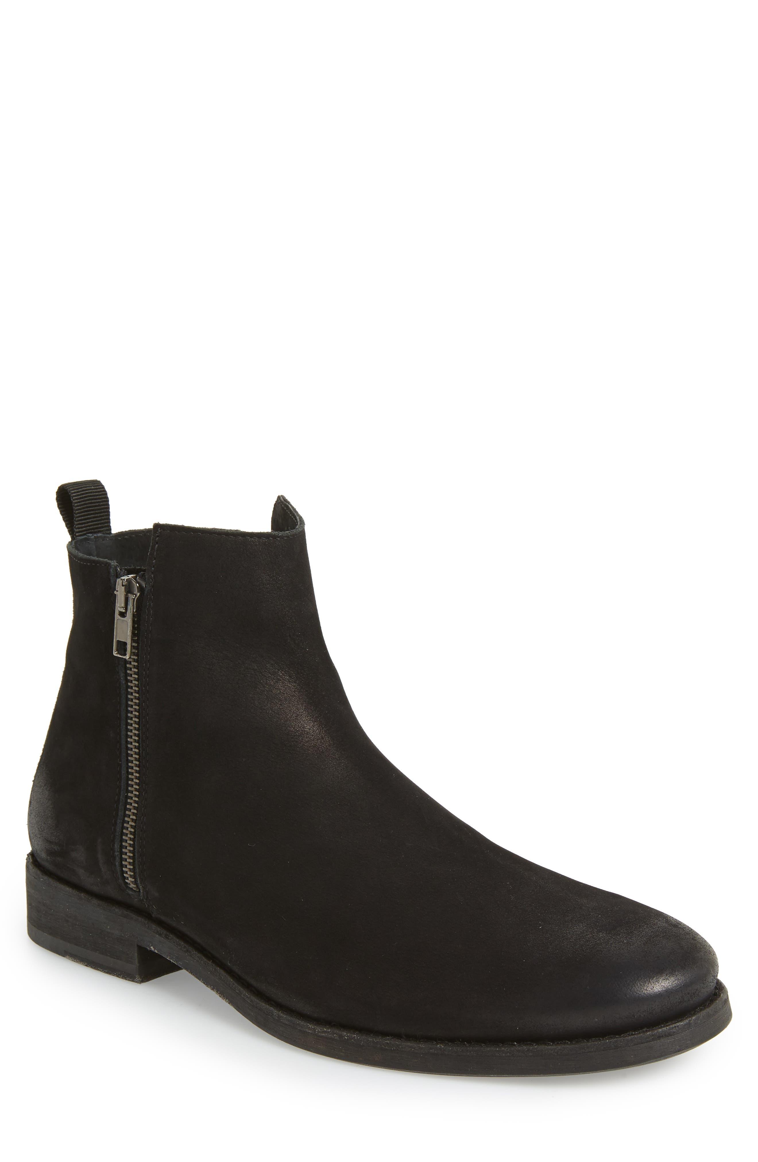 Vance Double Zipper Boot,                         Main,                         color, BLACK LEATHER