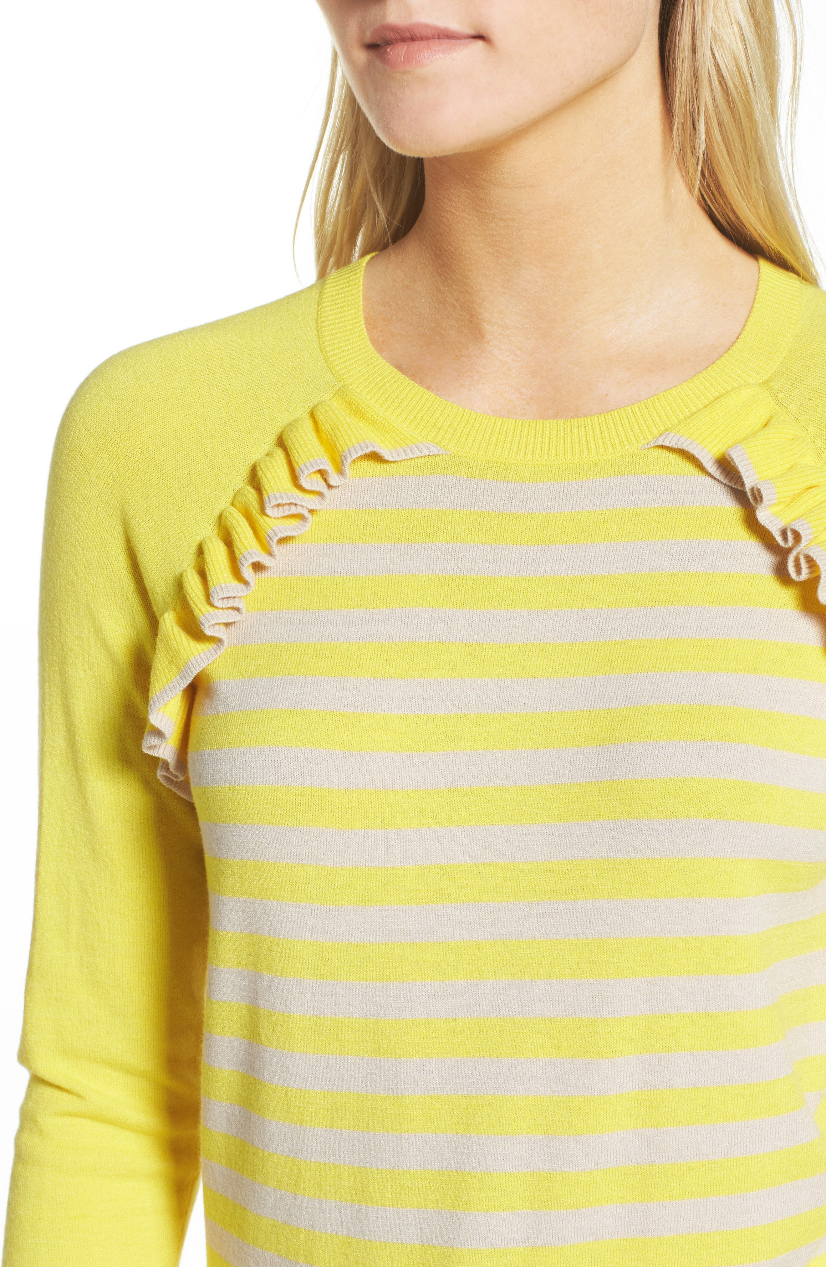 Ruffle Trim Stripe Sweater,                             Alternate thumbnail 12, color,