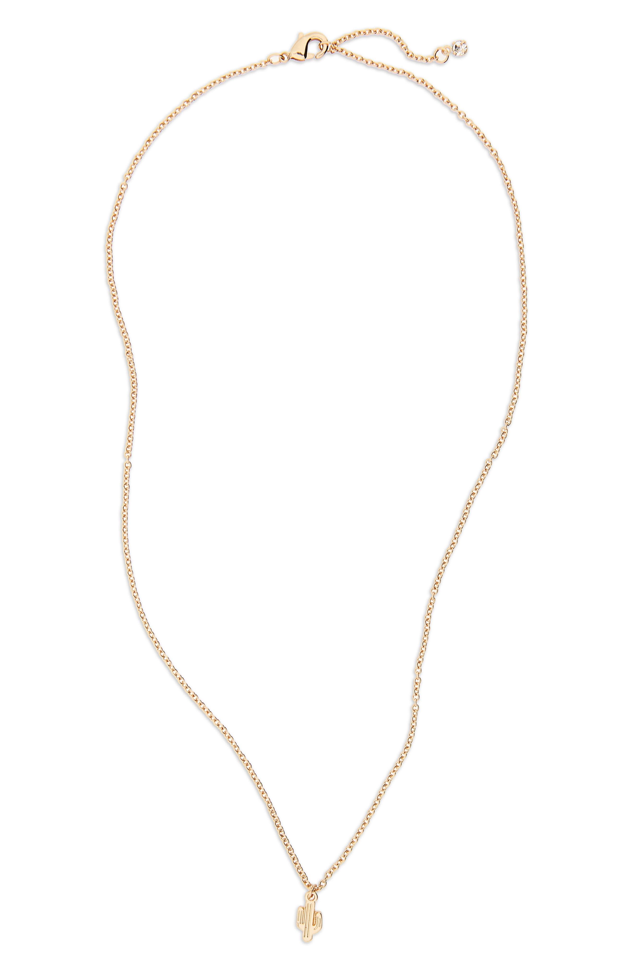 Cactus Dainty Pendant Necklace,                         Main,                         color,