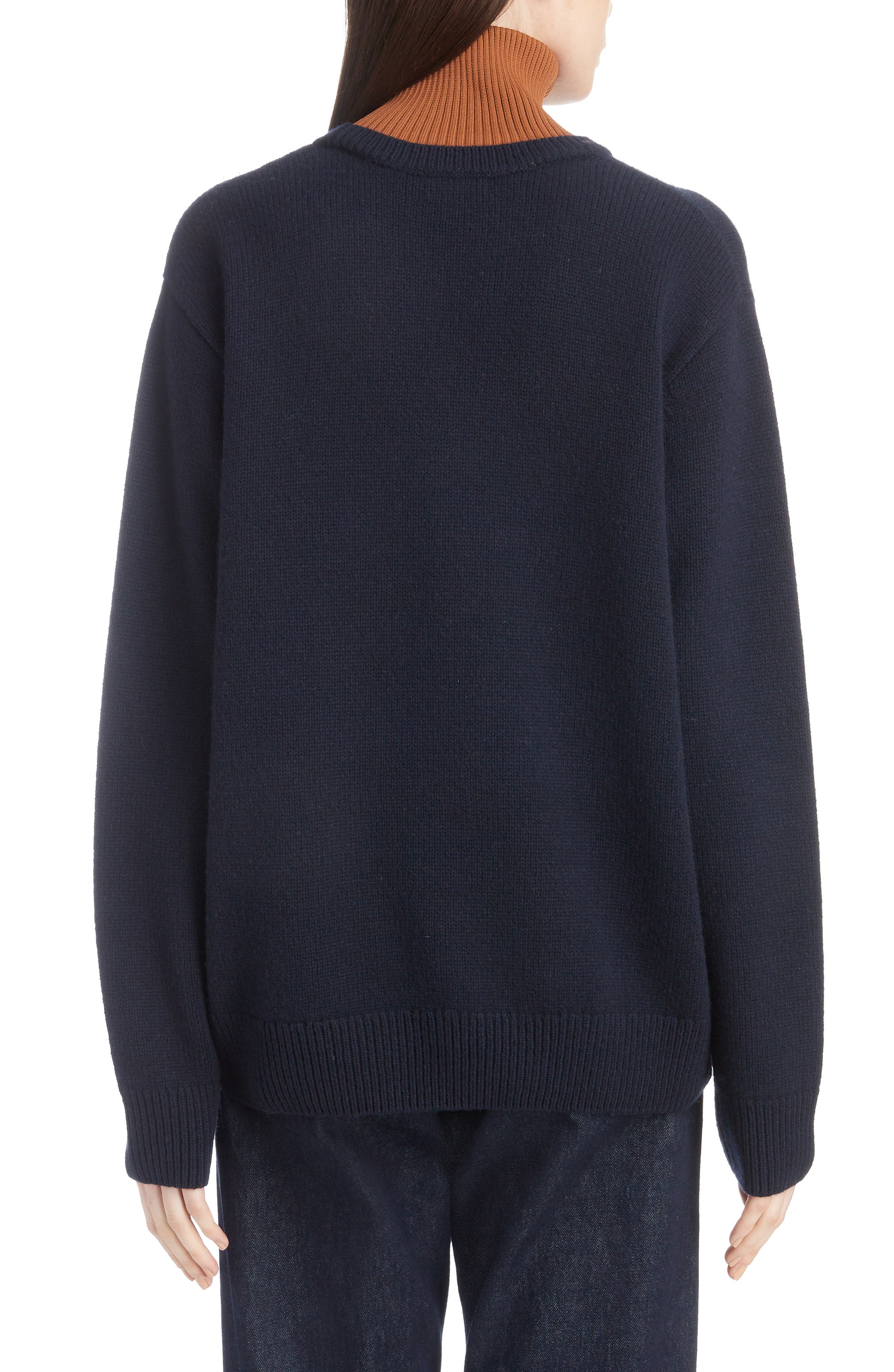 Inset Stretch Wool Sweater,                             Alternate thumbnail 2, color,                             NAVY