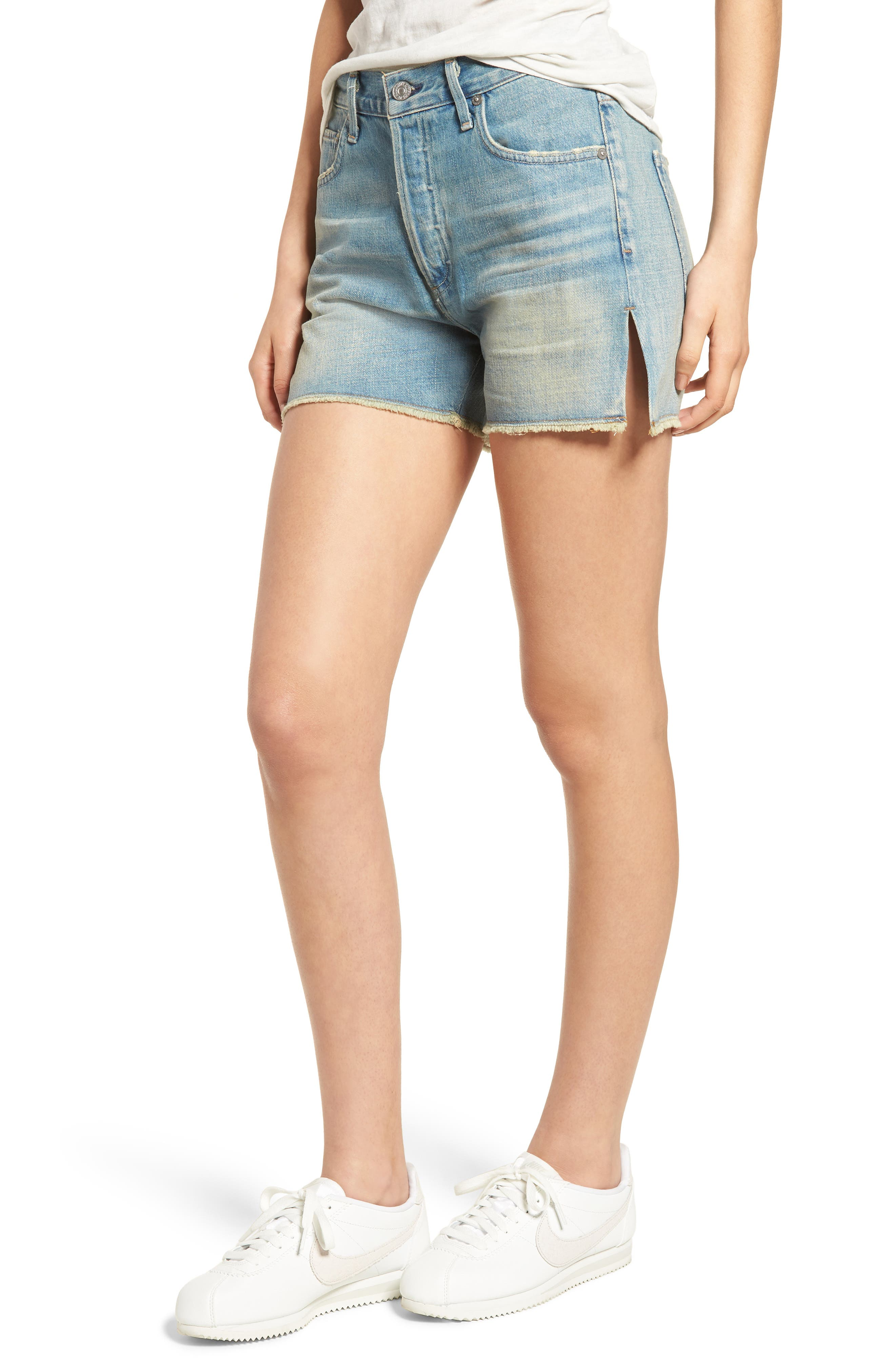 Corey Distressed Slouchy Denim Shorts,                         Main,                         color, 460