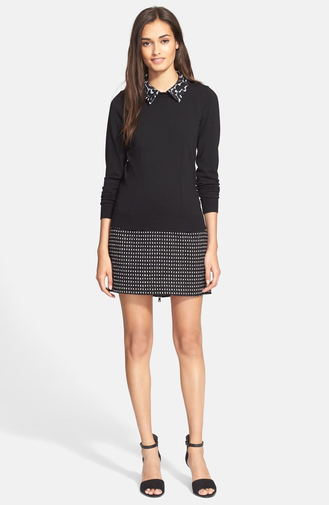 MILLY,                             Lace Collar Sweater,                             Alternate thumbnail 3, color,                             002