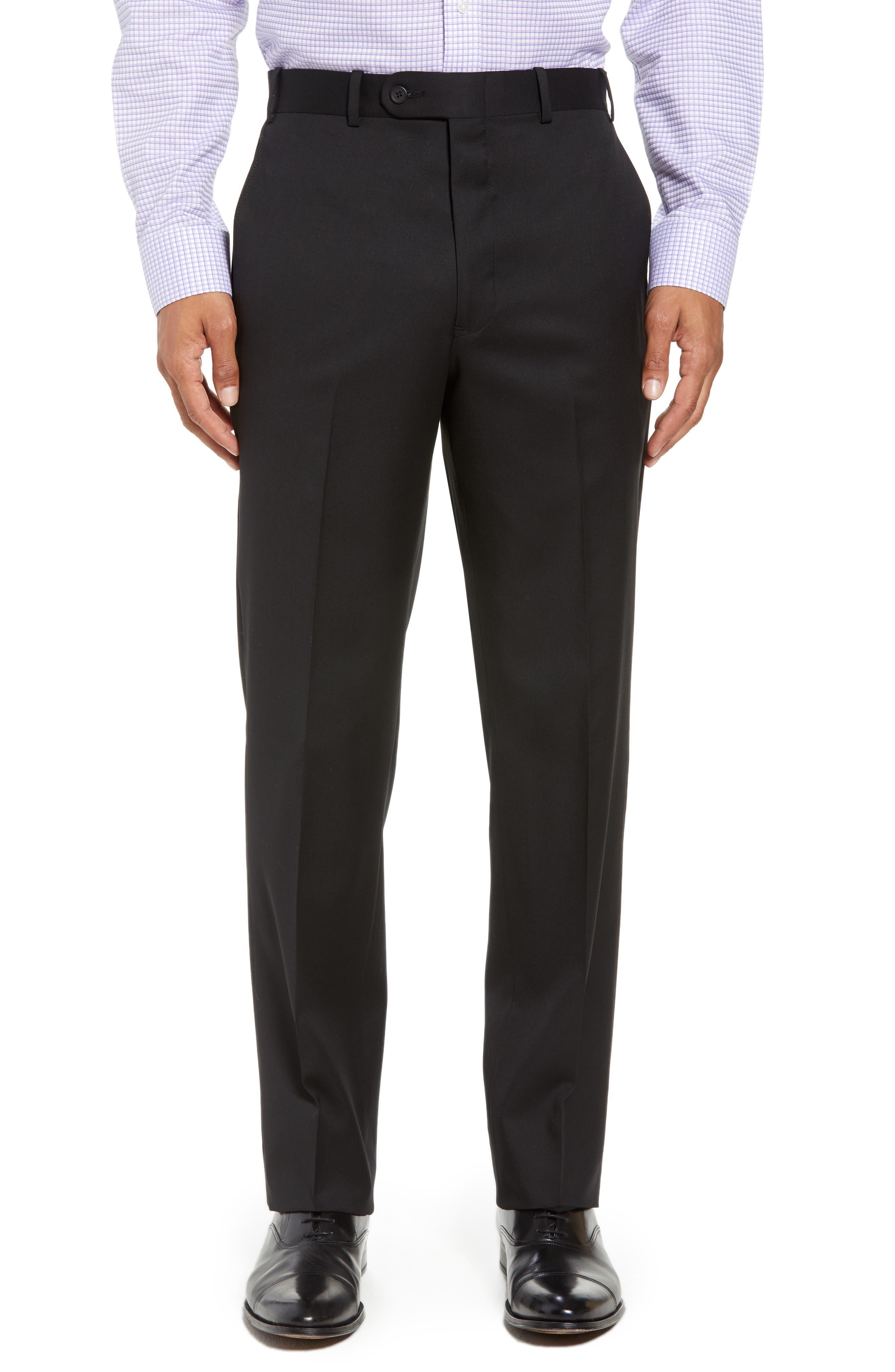 Torino Flat Front Wool Gabardine Trousers,                         Main,                         color, 001