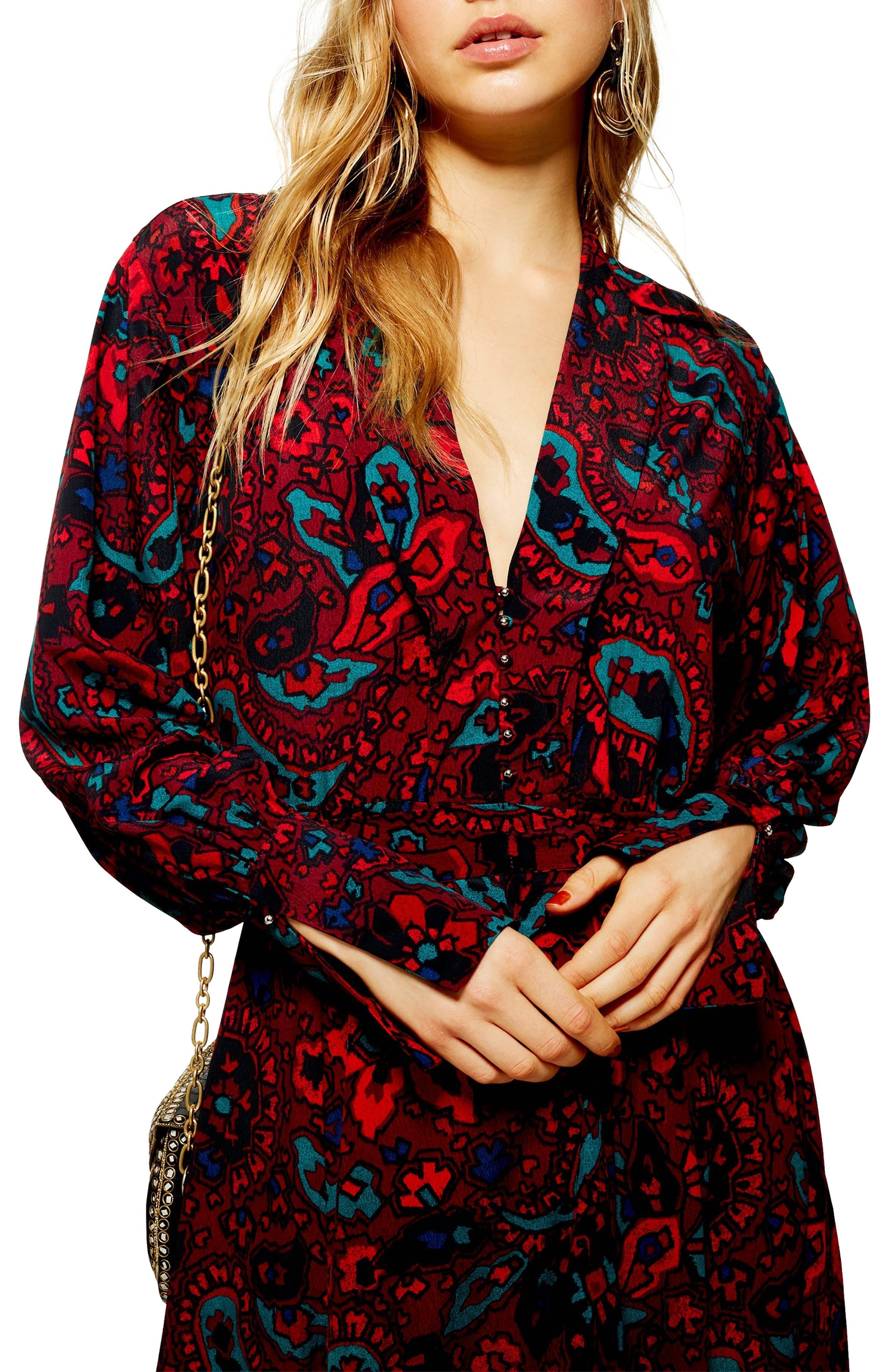 Paisley Oversize Shirtdress,                             Alternate thumbnail 3, color,                             RED MULTI