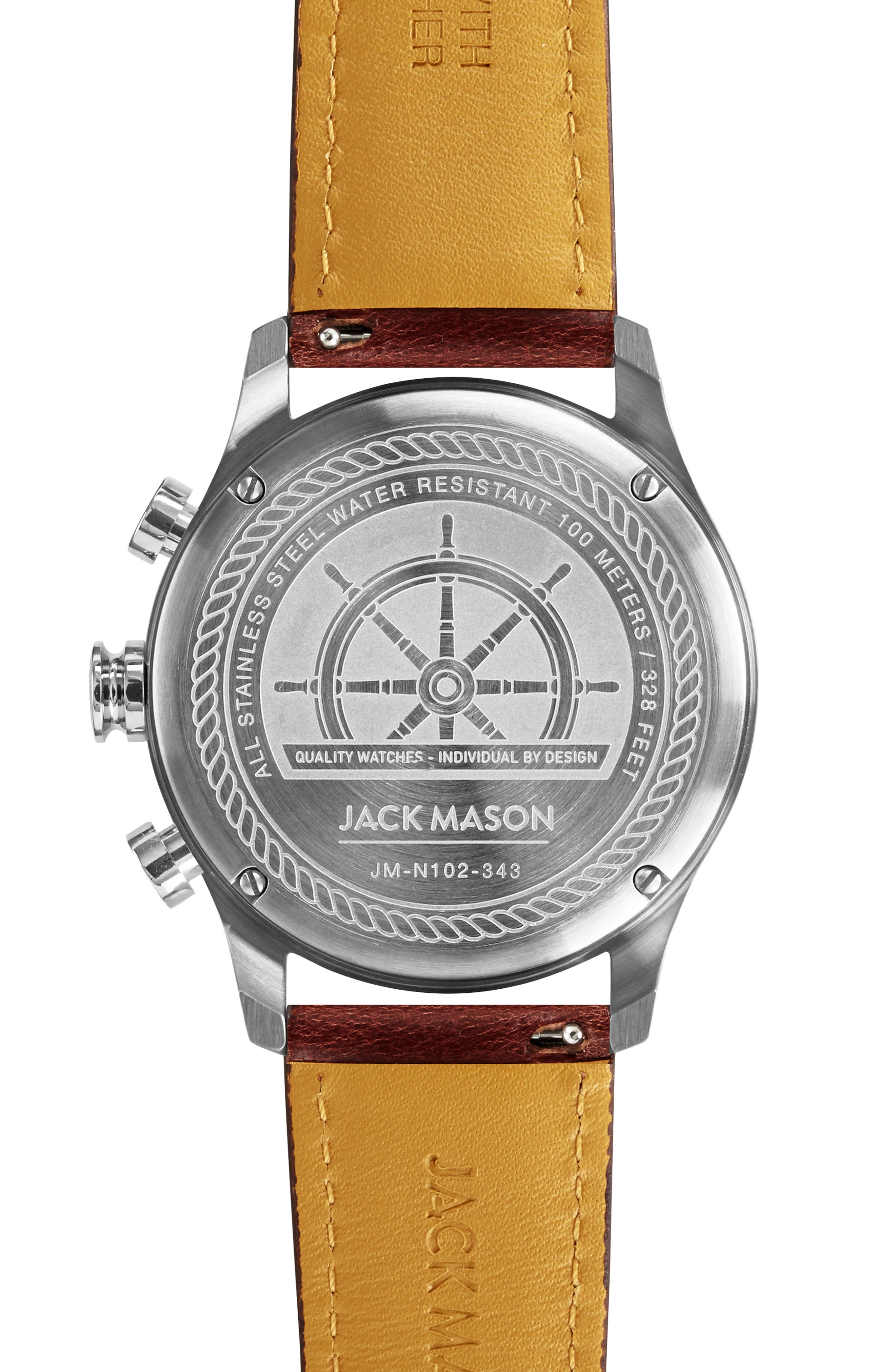 Nautical Chronograph Leather Watch, 42mm,                             Alternate thumbnail 2, color,                             210