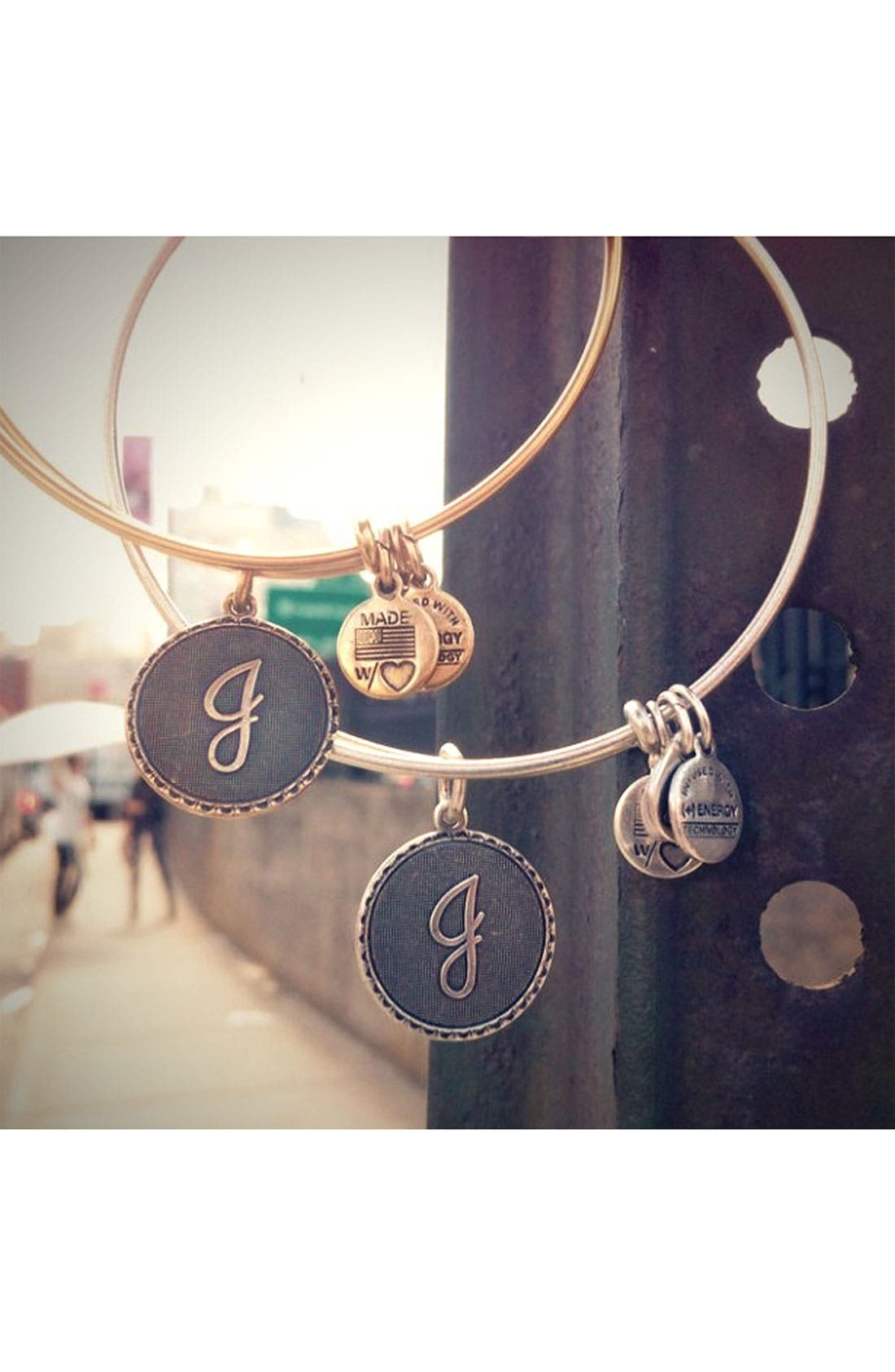 ALEX AND ANI,                             Script Initial Expandable Wire Bangle,                             Alternate thumbnail 4, color,                             040