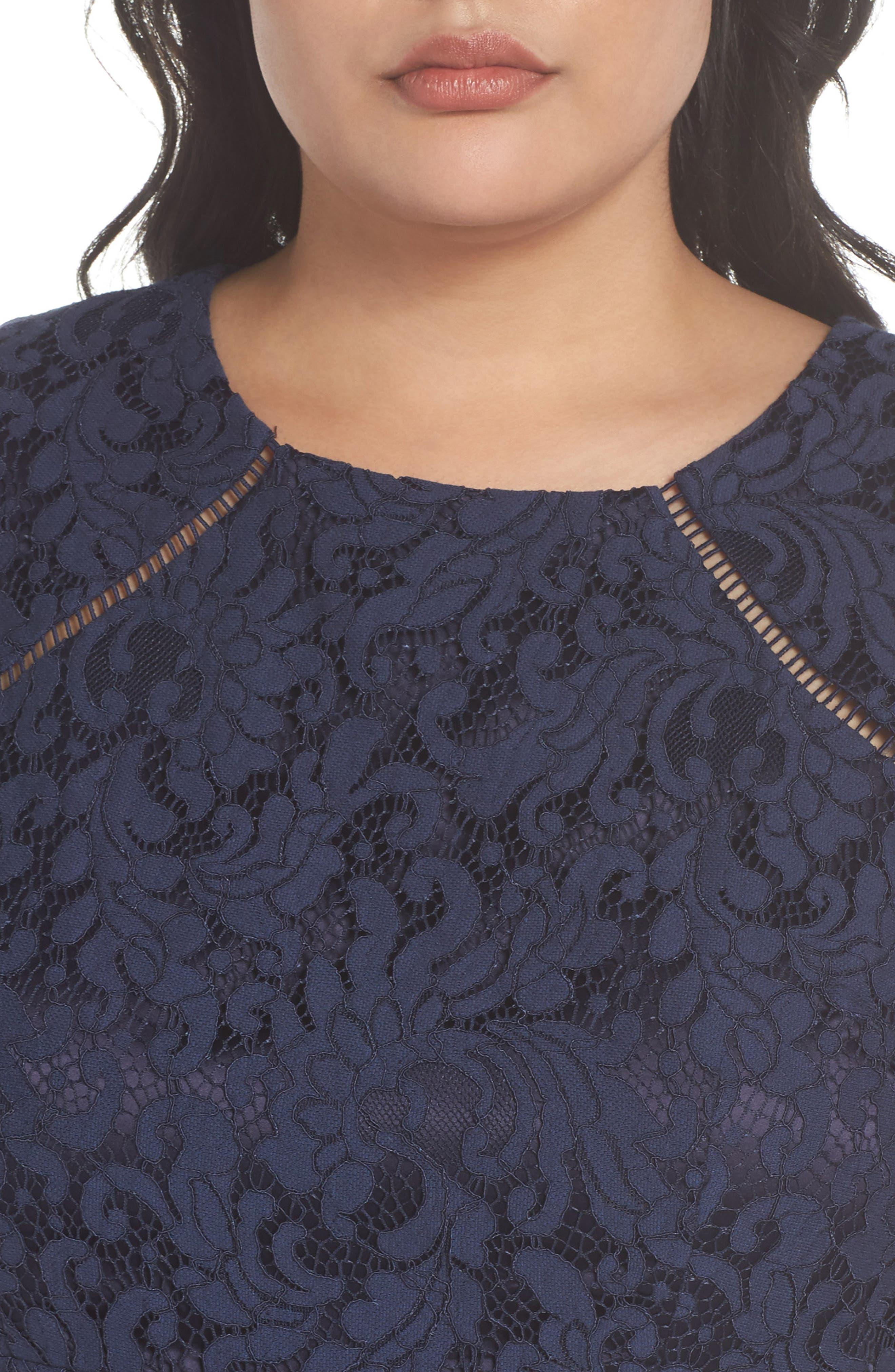 Fit & Flare Lace Dress,                             Alternate thumbnail 4, color,                             410