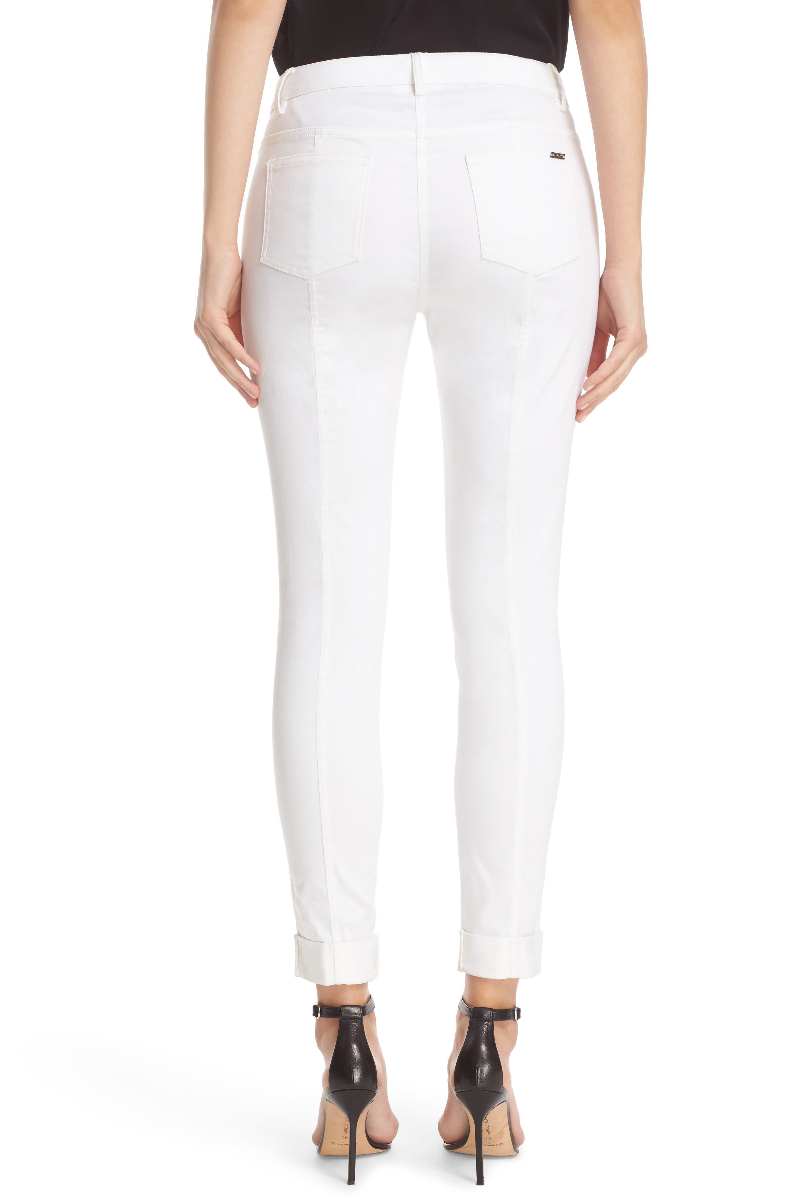 St. John Sport Collection Bardot Slim Capri Jeans,                             Alternate thumbnail 3, color,                             BIANCO