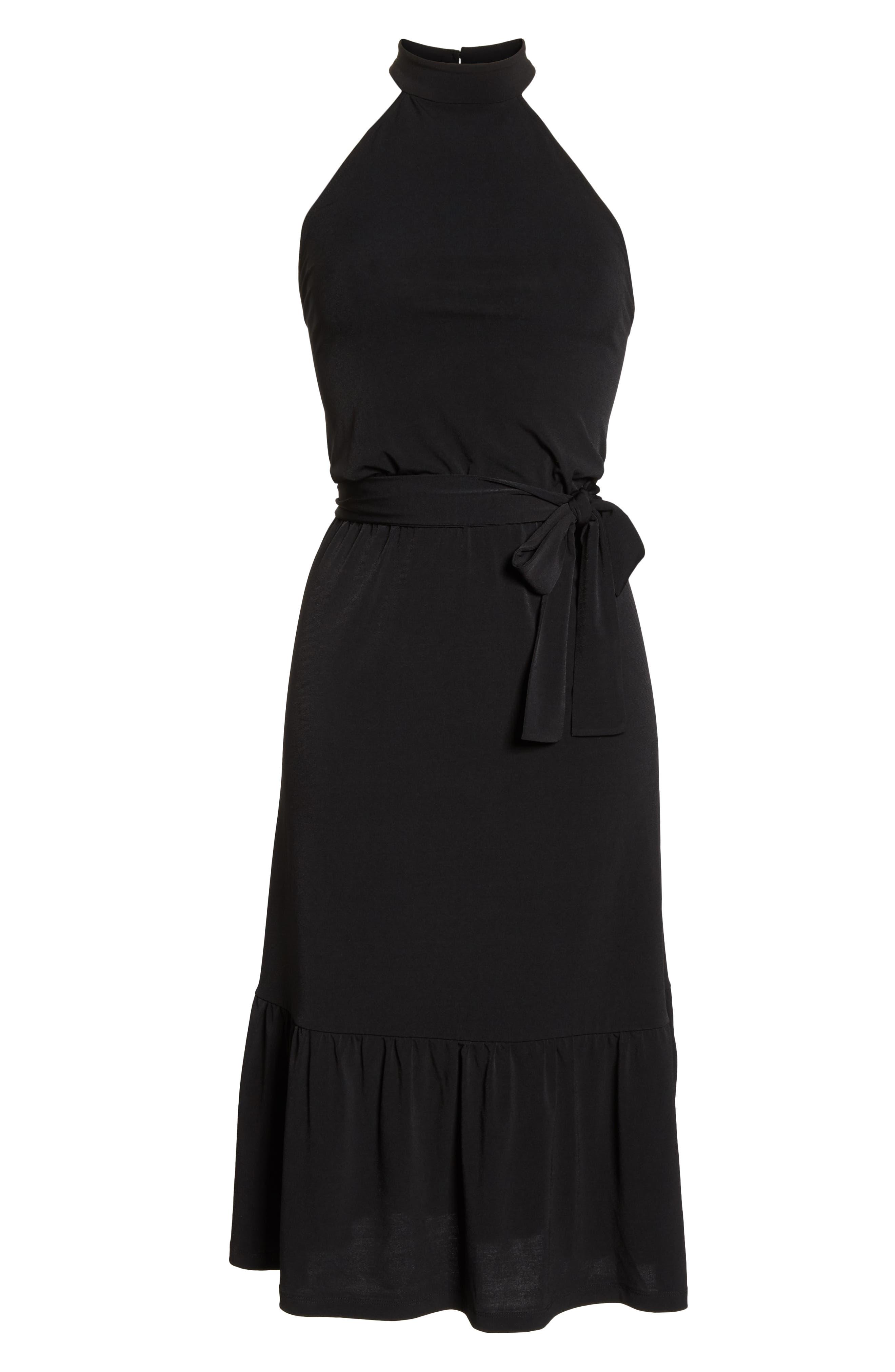 MICHAEL MICHAEL KORS,                             Halter Midi Dress,                             Alternate thumbnail 7, color,                             BLACK
