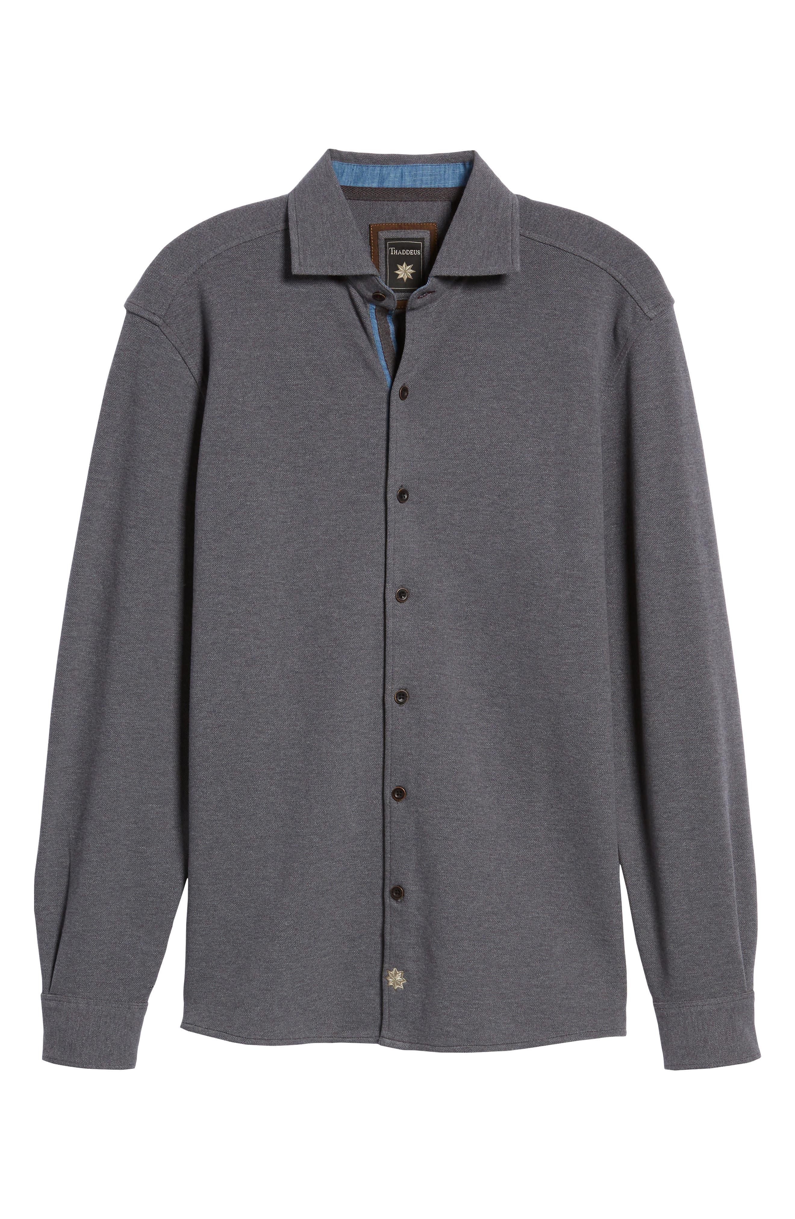 Shandy Heathered Knit Sport Shirt,                             Alternate thumbnail 6, color,                             014